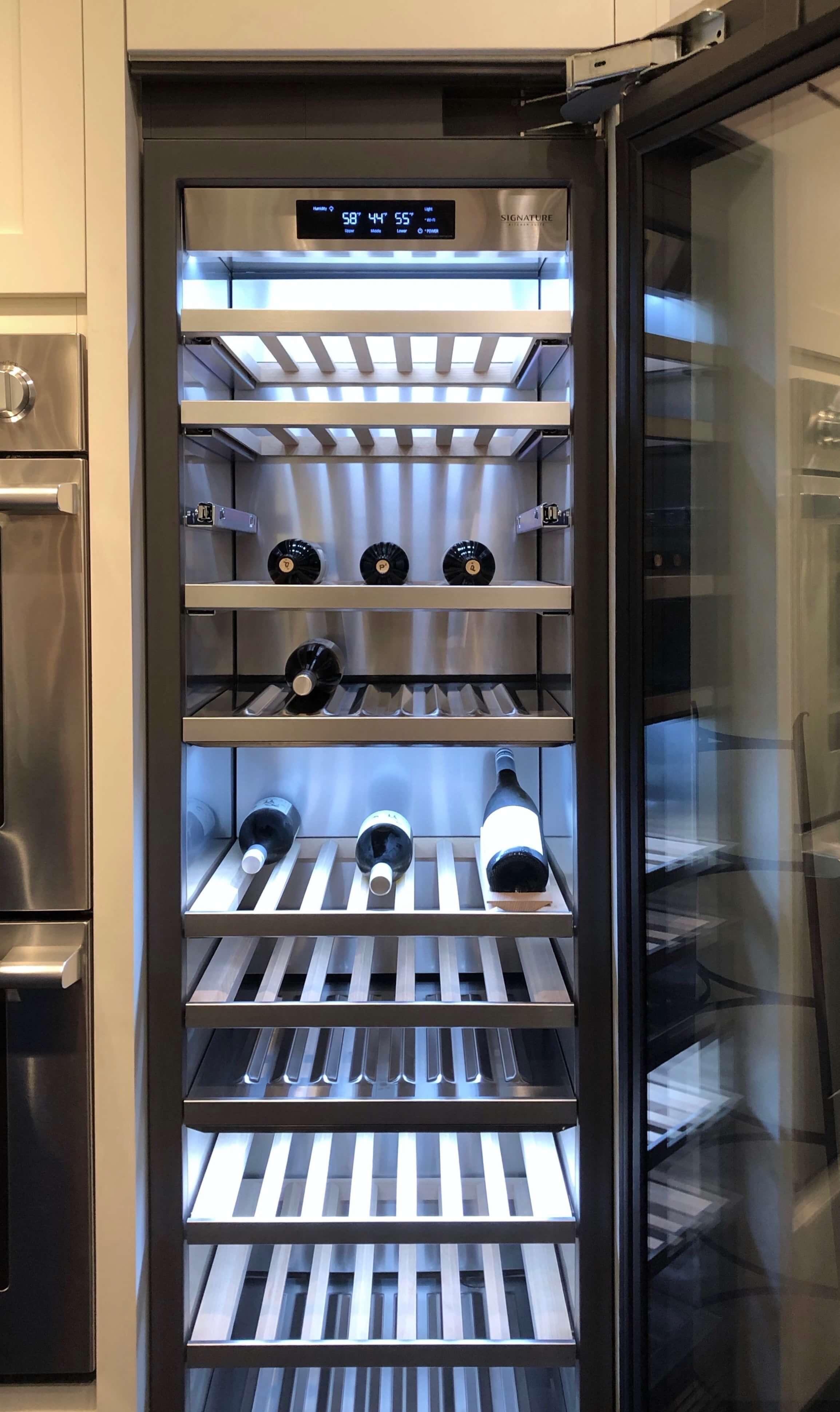 Interior of wine refrigeration unit | SKS Appliances Experience and Design Center, Napa