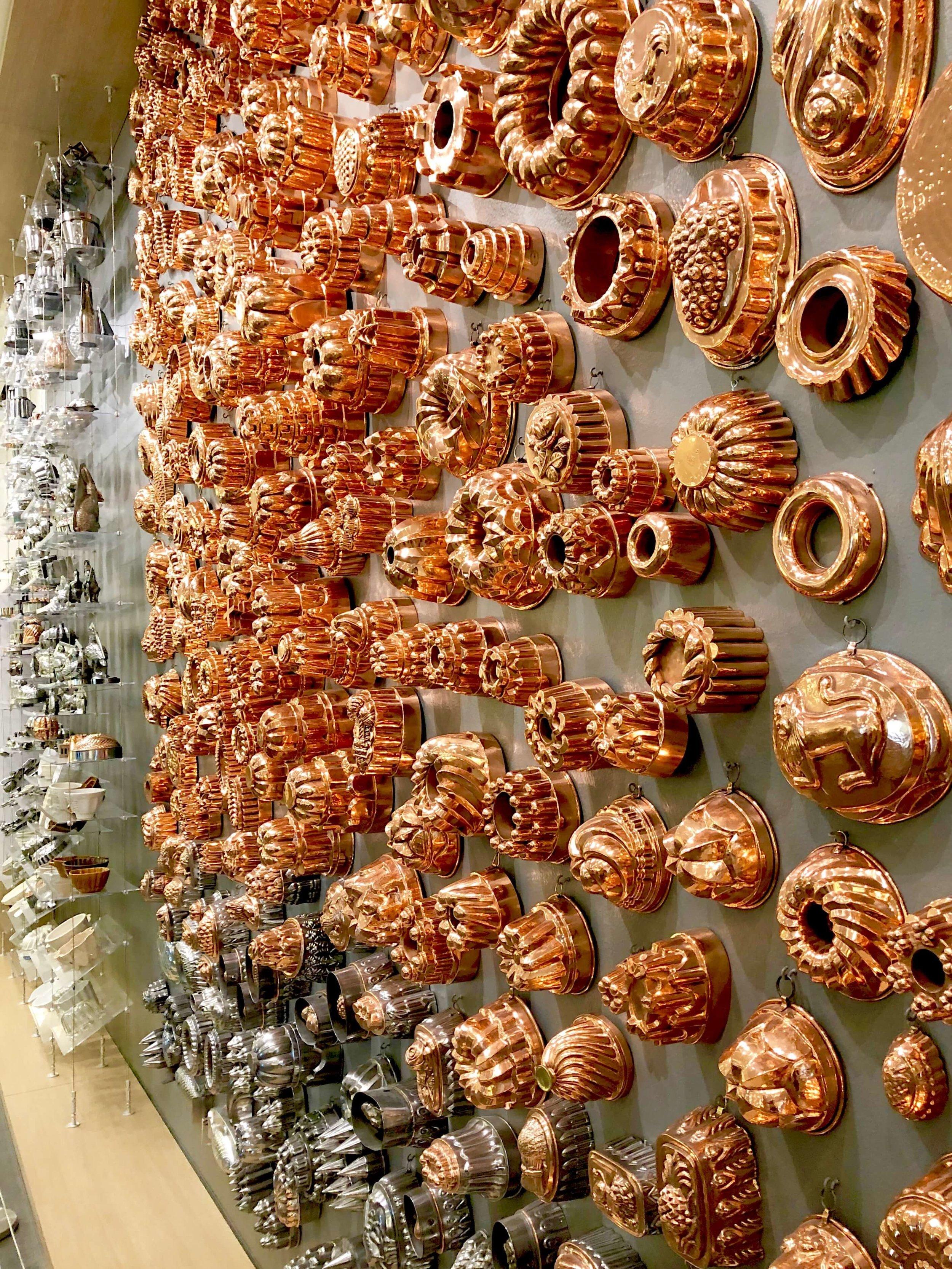 The most impressive wall of copper molds at the Chuck Williams Culinary Arts Museum, Culinary Institute of America Copia | Napa, California