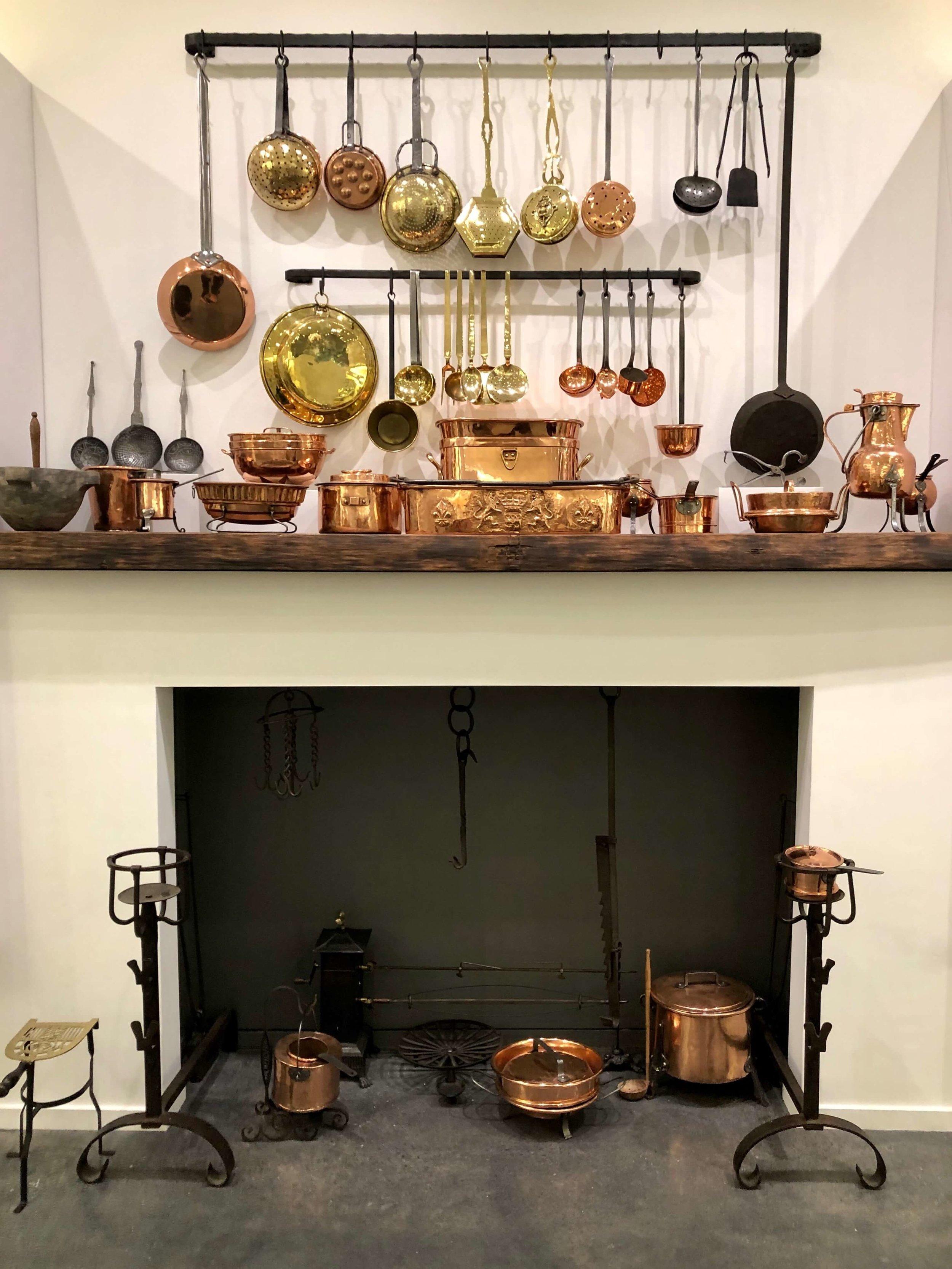 Antique copper cookware at the Chuck Williams Culinary Arts Museum, Culinary Institute of America Copia | Napa, California
