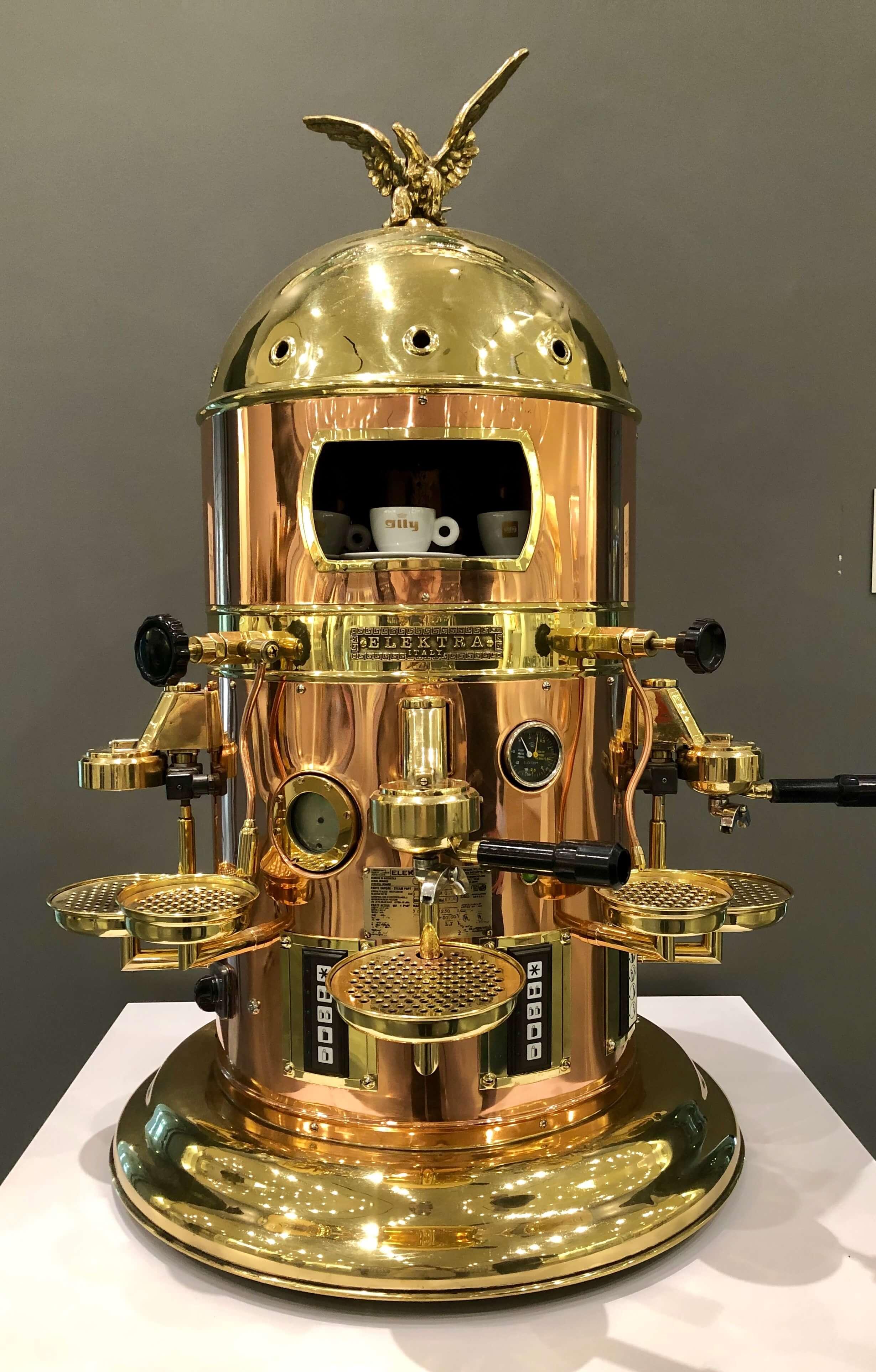 Exquisite brass and copper espresso maker the Chuck Williams Culinary Arts Museum, Culinary Institute of America Copia | Napa, California
