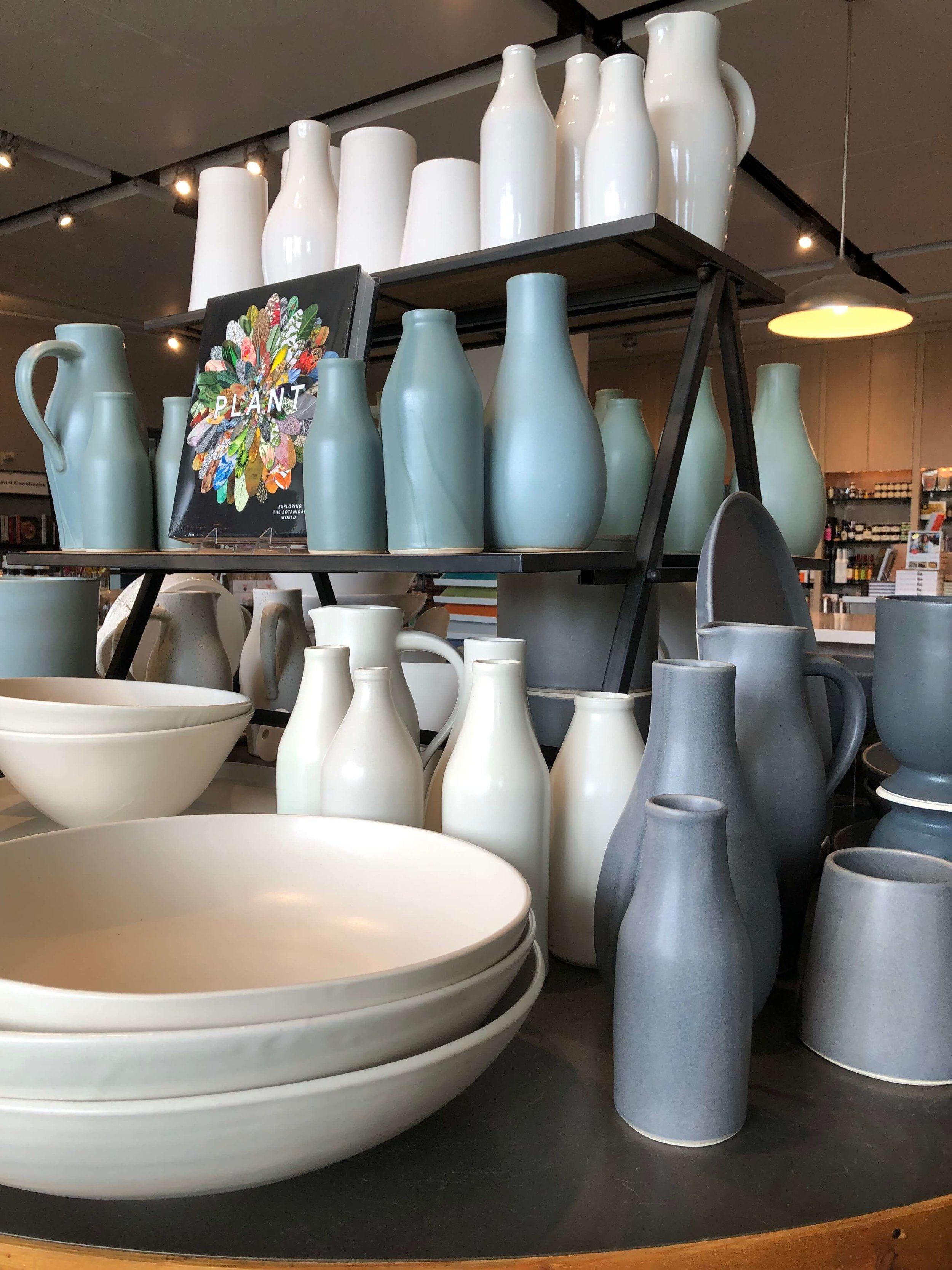 New pottery from a local artist, Amanda Wright, is for sale in the CIA Copia gift shop.