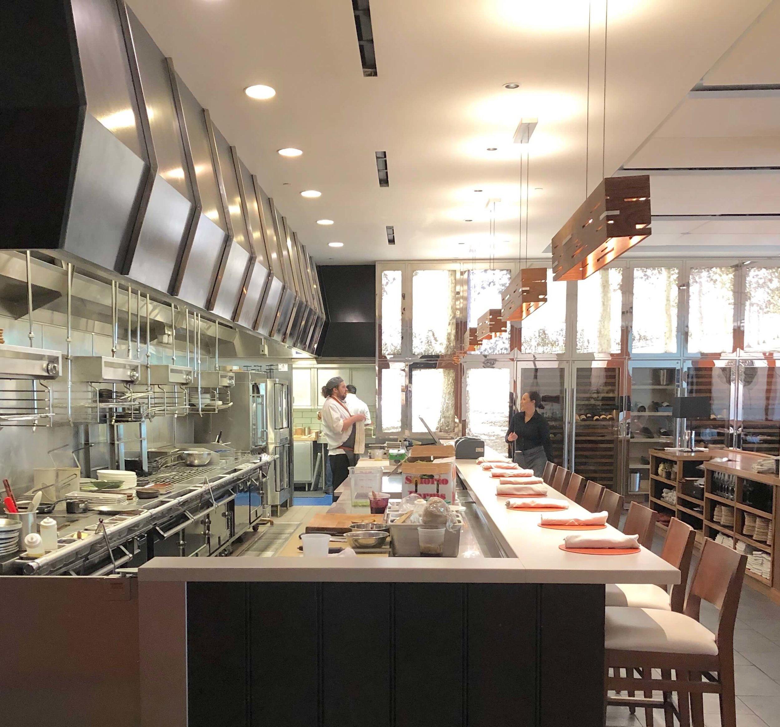 The open kitchen in the restaurant in CIA Copia, Napa, California
