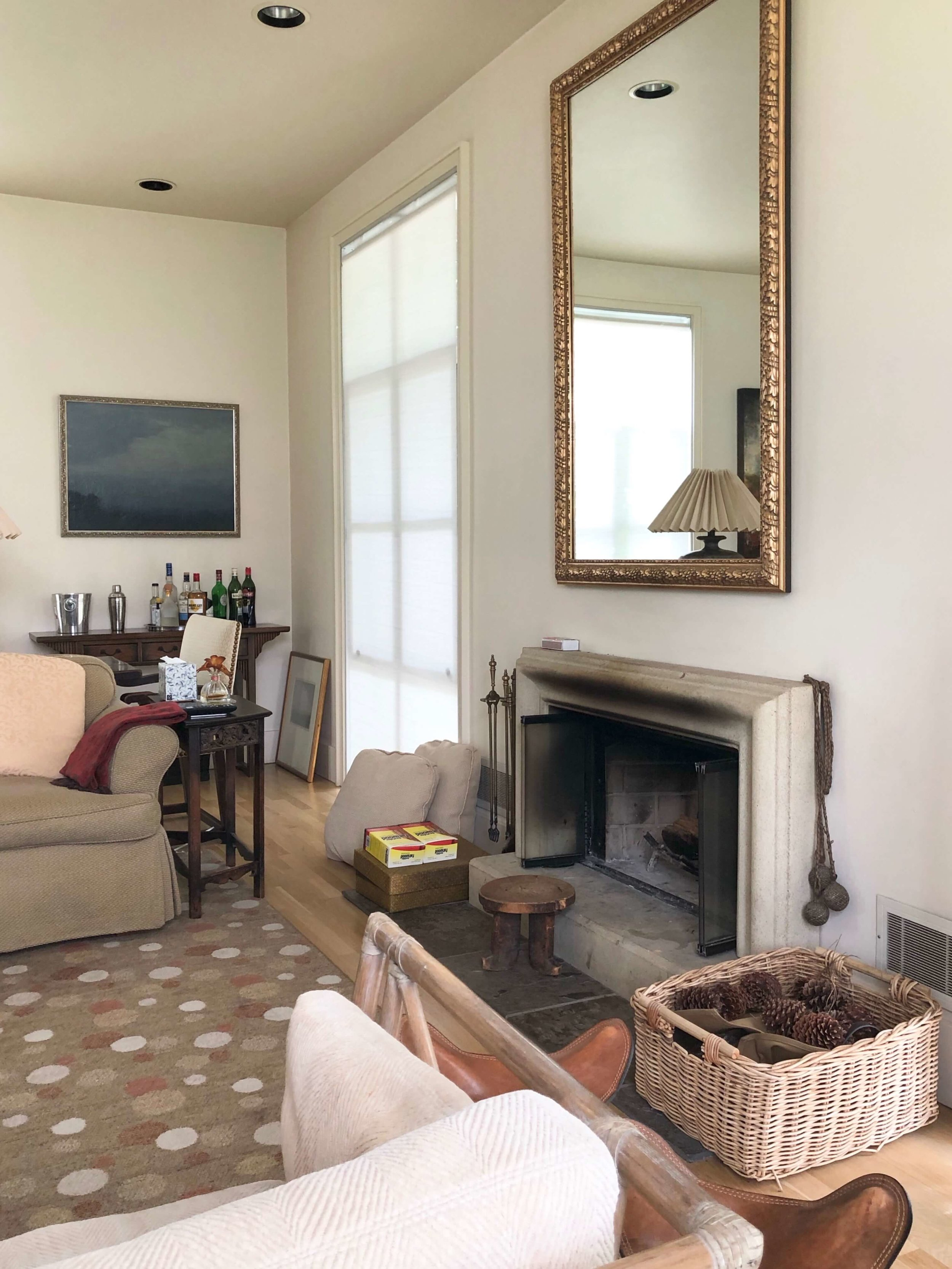 Antiques, books and art create a European ambience in this Sonoma Valley Airbnb vacation rental living room. #airbnb #winecountry
