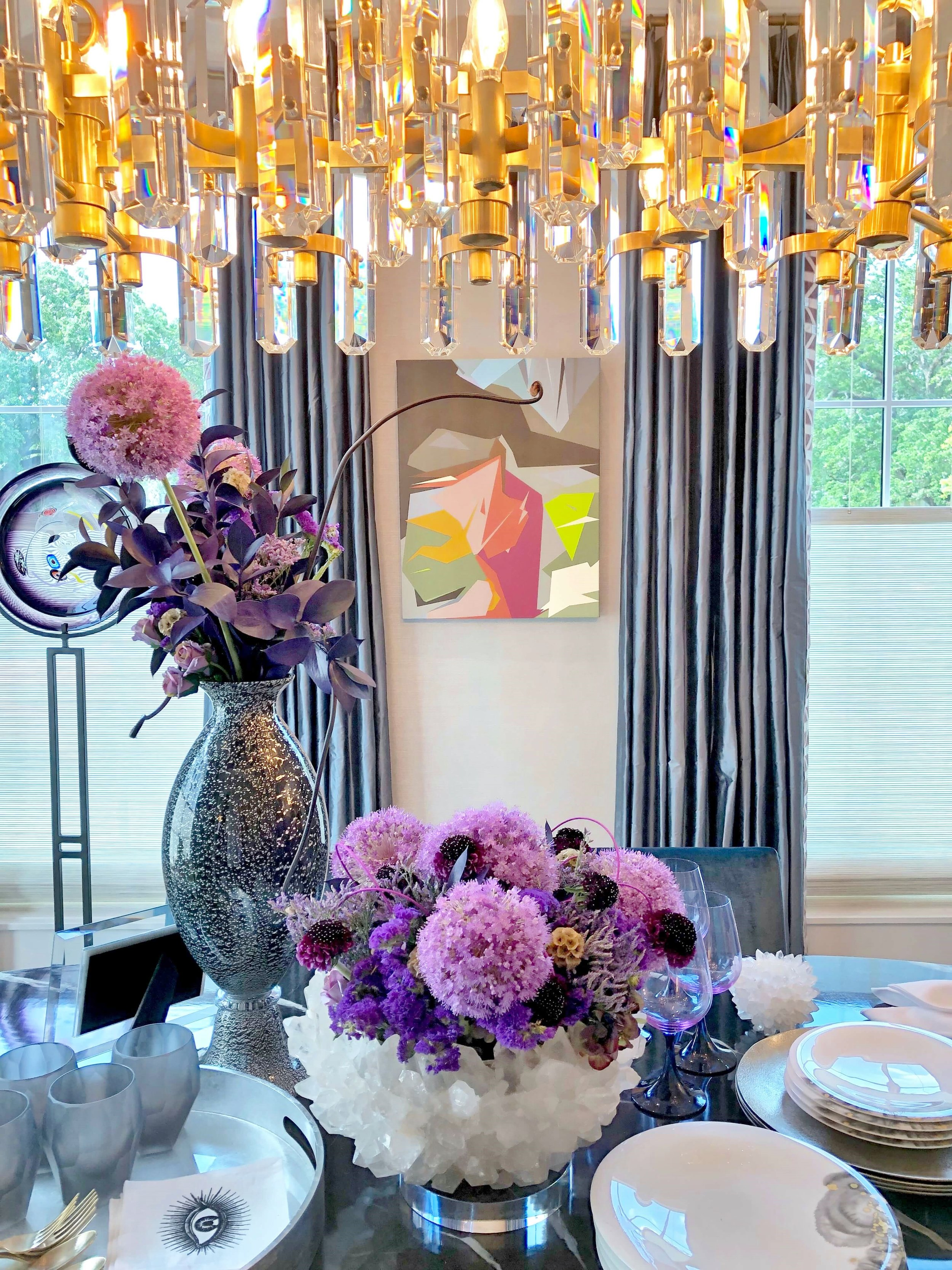 Blues, purples and metallic shades accent the lovely dining room designed by Linda Eyles. ASID Showhouse, Houston. #purpleflowers #diningroom