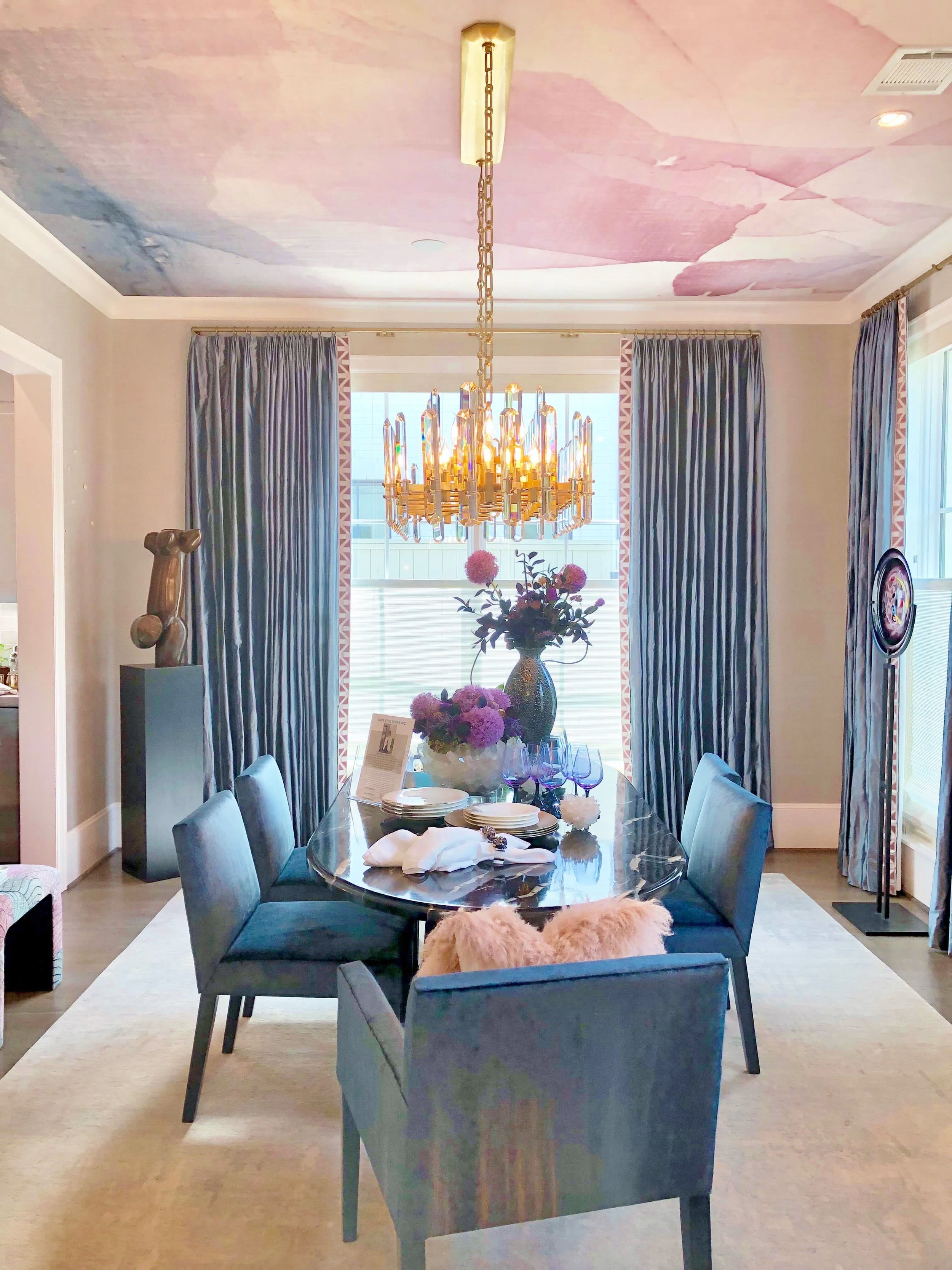 Blues, purples and metallic shades accent the lovely dining room designed by Linda Eyles. ASID Showhouse, Houston #diningroom #bluediningroom