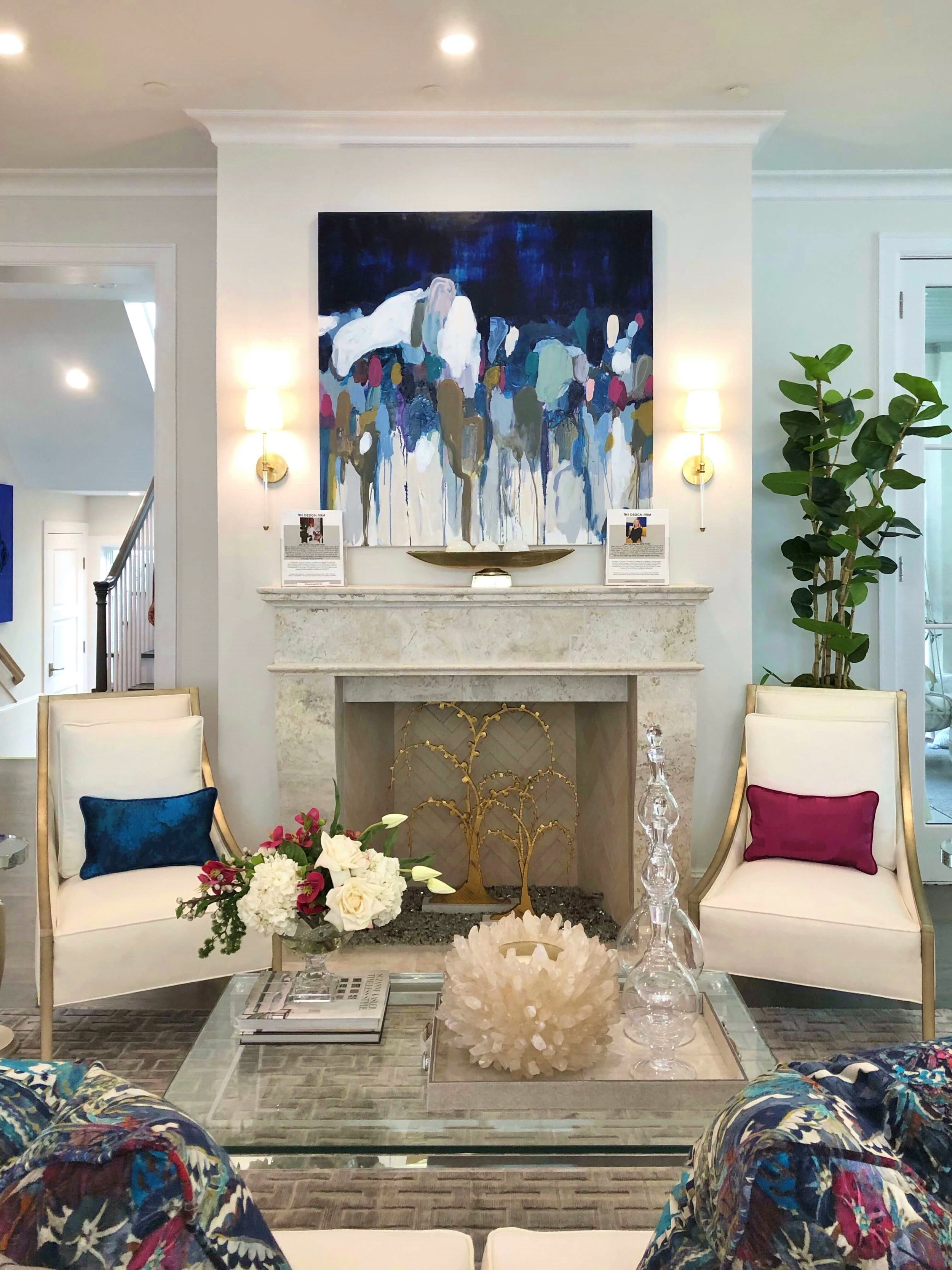 The family room, with this gorgeous fireplace and jewel-toned decor, was designed by The Design Firm. ASID Showhouse, Houston. #fireplace #jeweltones