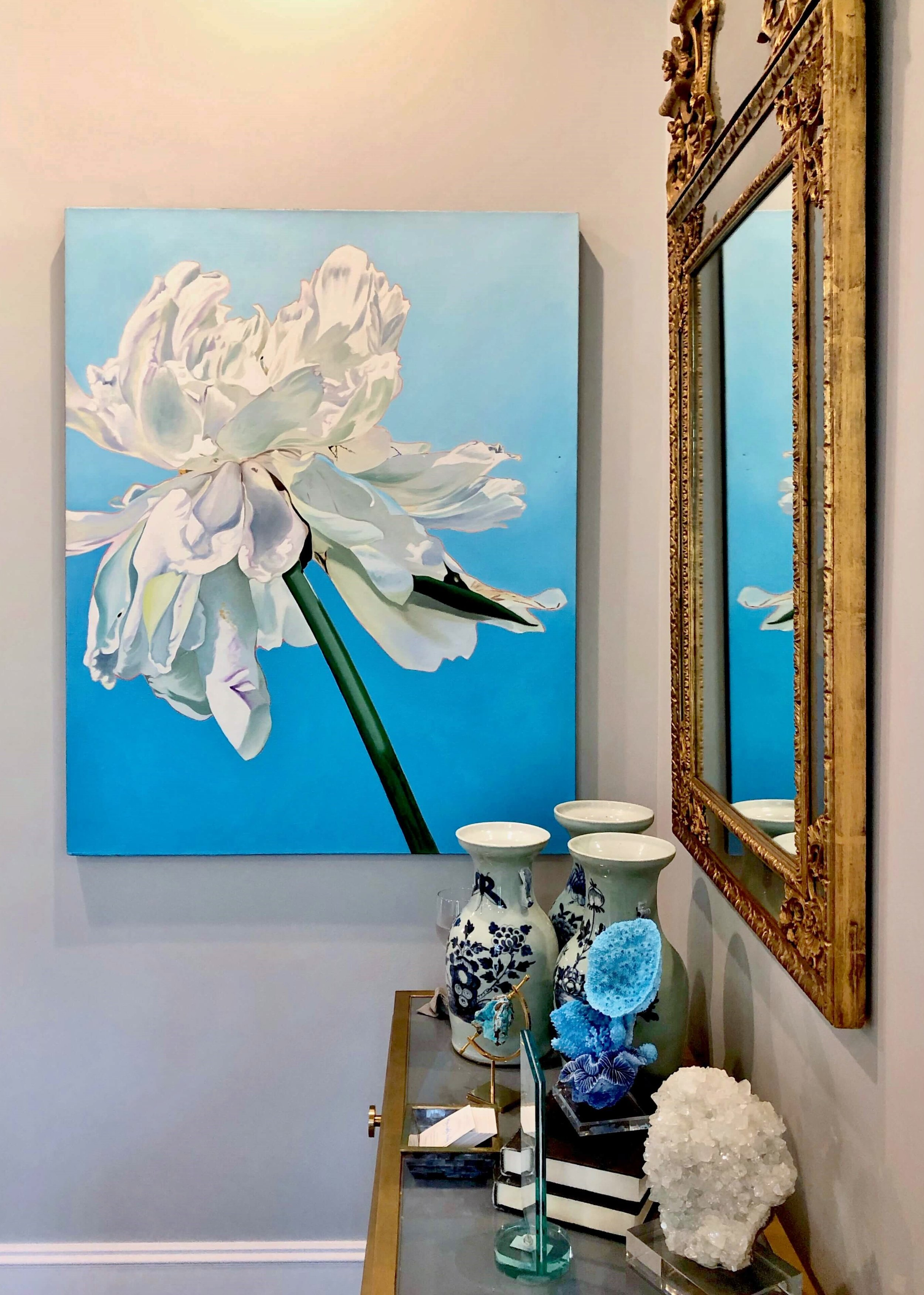 Loved the gorgeous and colorful art displayed in the living room designed by Mary Wilson at the ASID Showhouse, River Oaks, Houston.