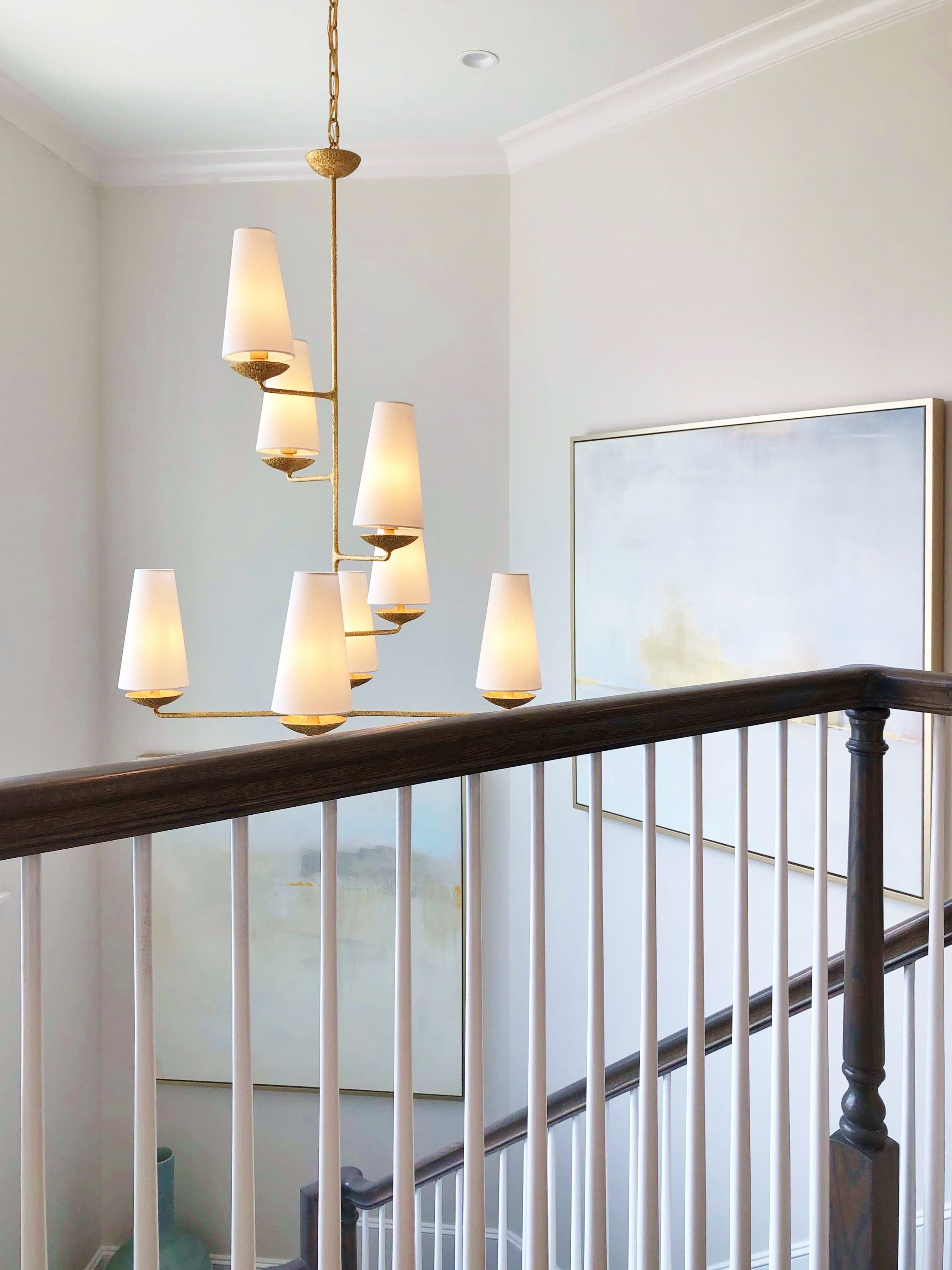 All decorative lighting was provided by Circa Lighting for the ASID Showhouse, Houston. #chandelier #stair