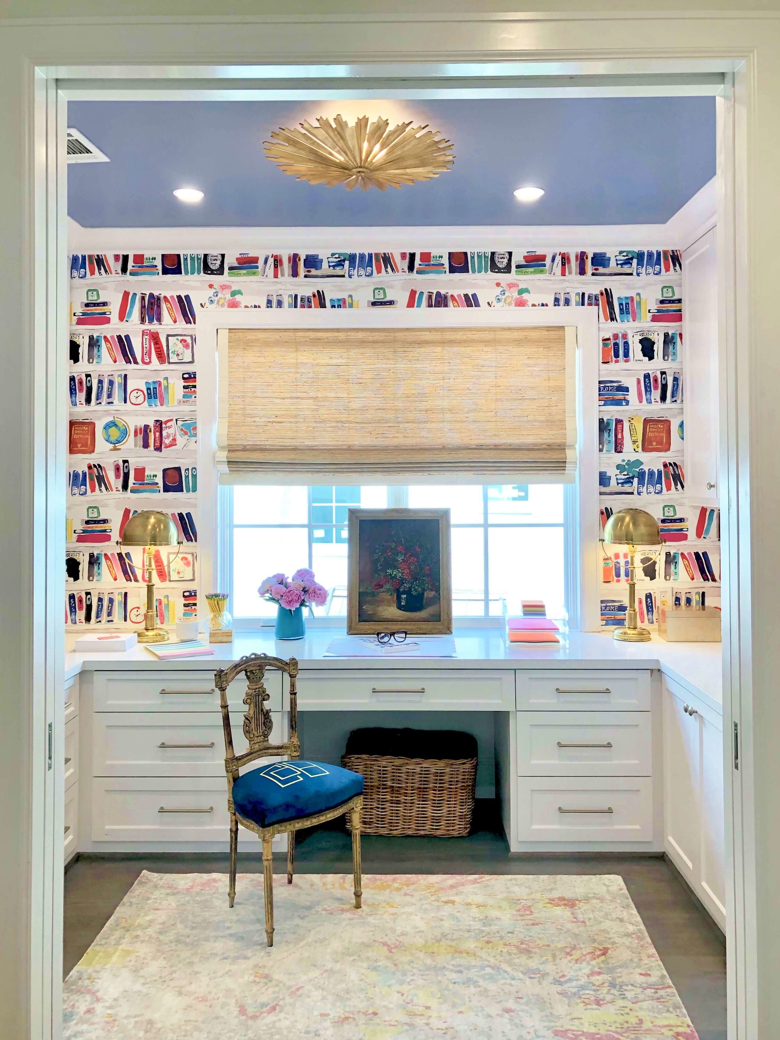 This fun, colorful, wallpapered home office niche was designed by Cheryl Baker of CDB Interiors. | ASID River Oaks Showhouse #homeoffice #katespade #wallpaper