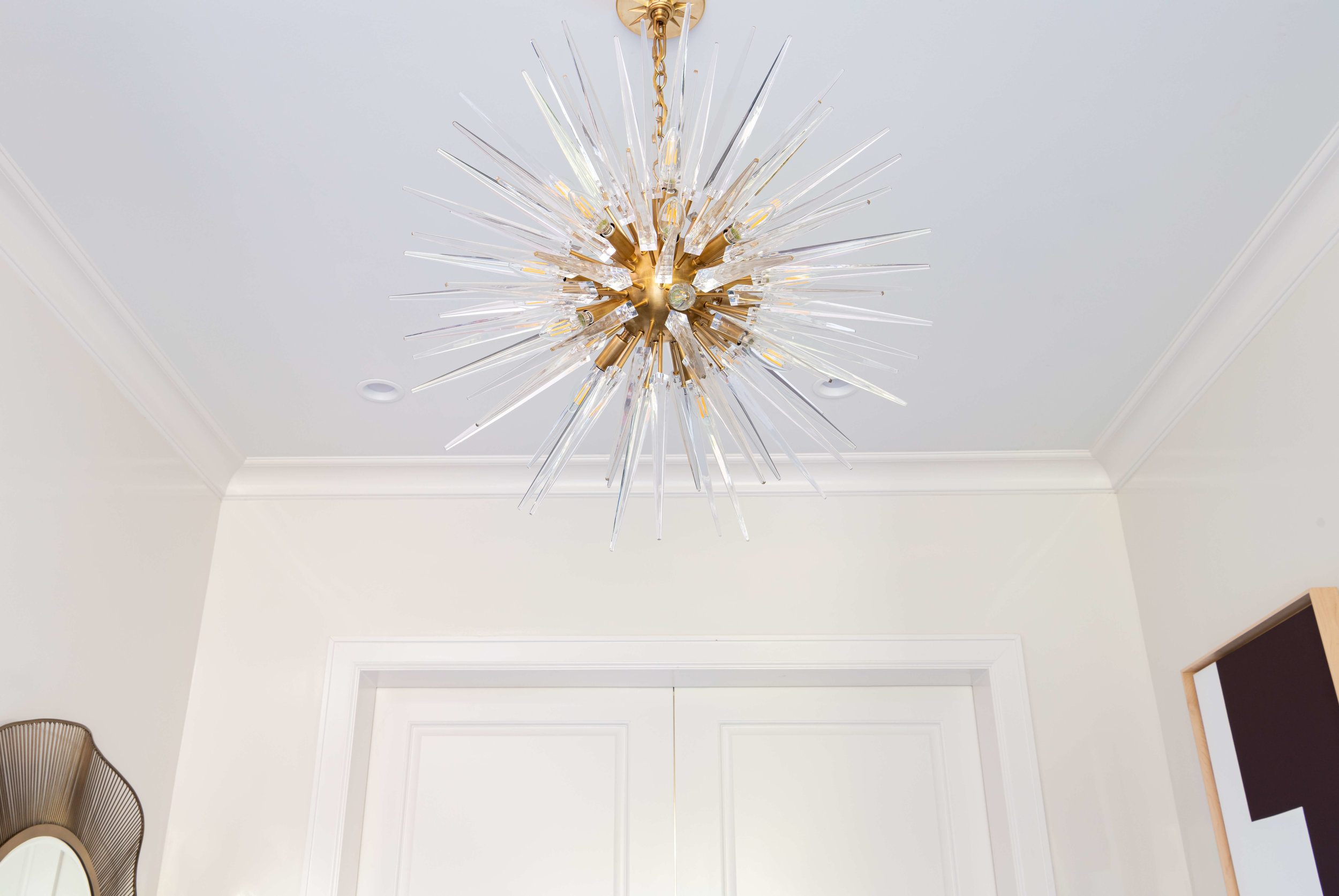 Lots of beautiful lighting and more in the ASID River Oaks Showhouse | Entry Hall designed by Talbot Cooley of Talbot Cooley Interiors , Photographer Michael Hunter #chandelier #entryhall #foyer