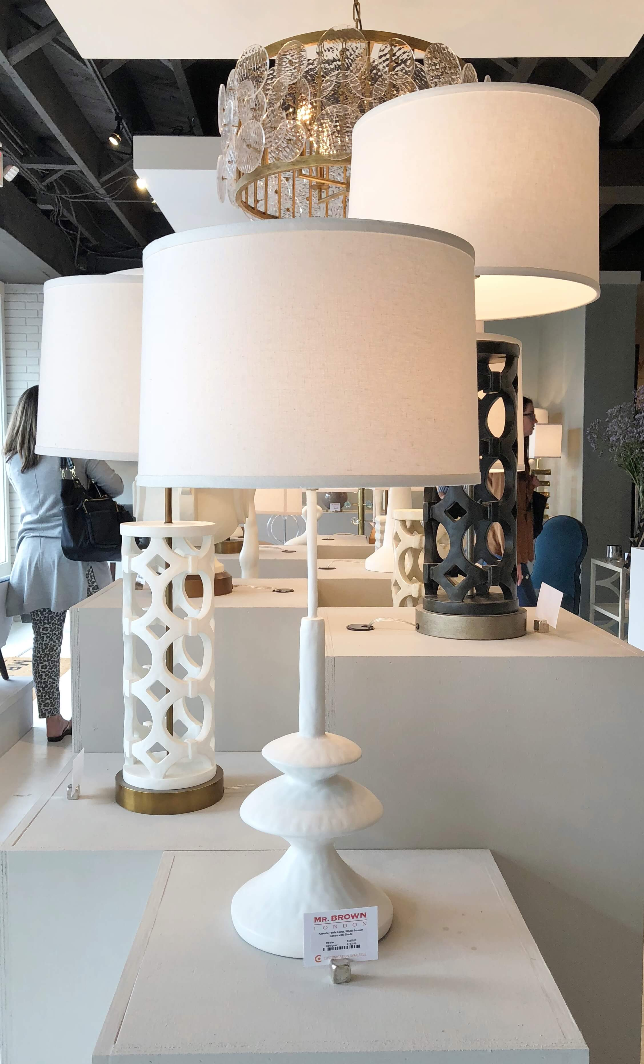 White gesso finish lamp seen at Mr. Brown Home at Highpoint Market.