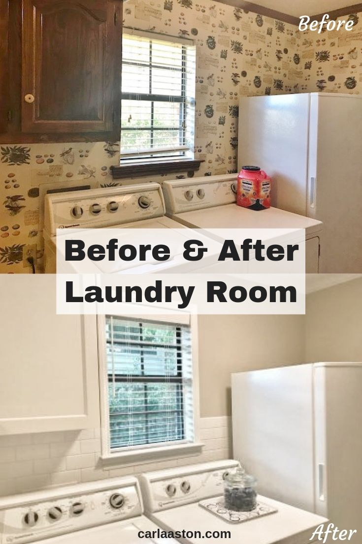 Where to end the backsplash? A quick email design consultation renders great results for this laundry room makeover! #laundryroom #laundryroomideas #tilebacksplash