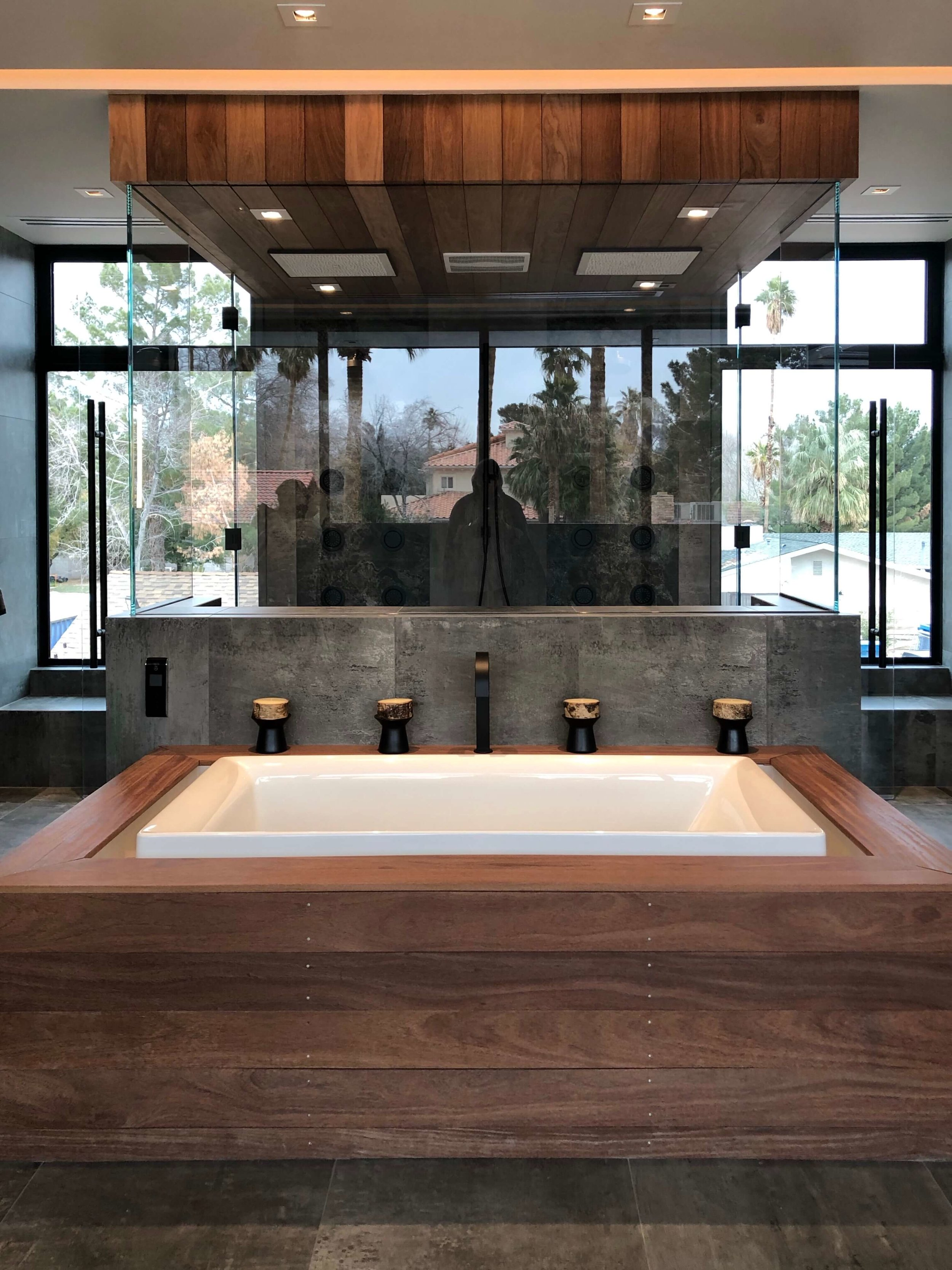 Master bath infinity tub and steam shower in The New American Remodel 2019. #masterbathroom #hometour #contemporaryhome