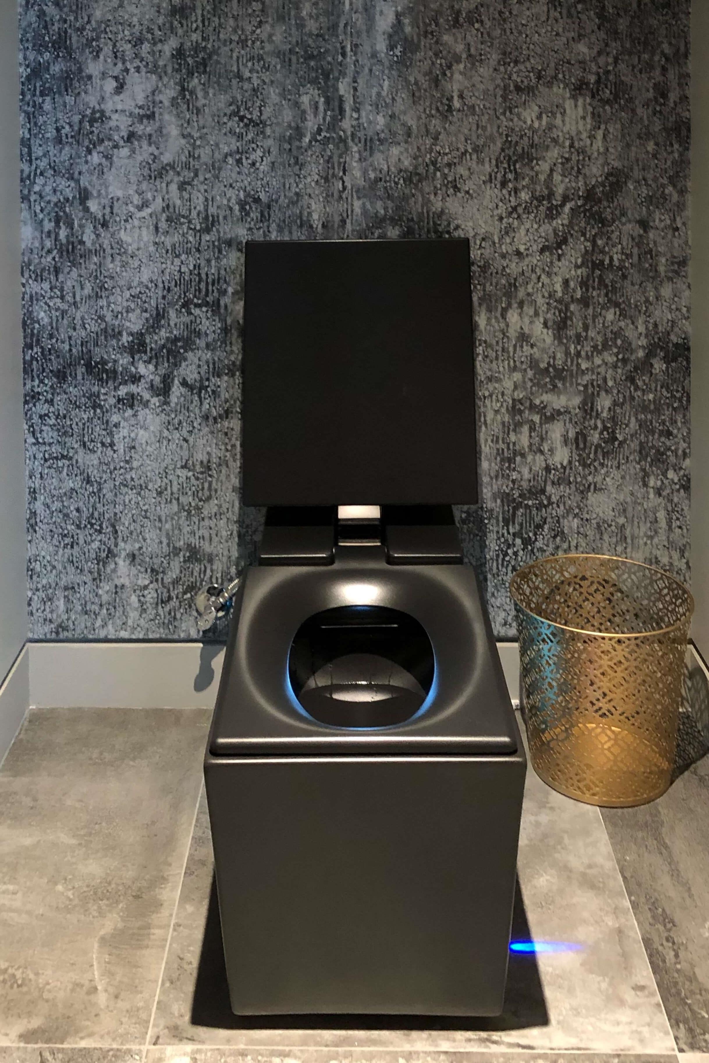 Master bath black square toilet in The New American Remodel 2019. #masterbathroom #hometour #contemporaryhome