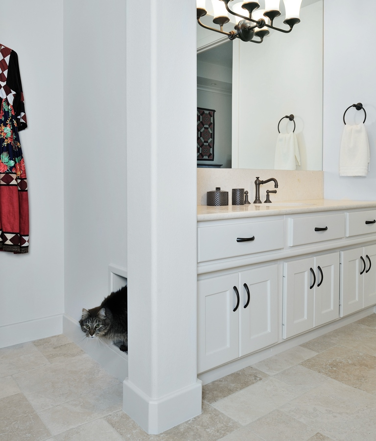 Bathroom cabinetry was modified for the cat box cubby with an exit out the side wall. | Carla Aston, Designer | Miro Dvorscak, Photographer #remodel #cabinetry #designingforpets #catbox