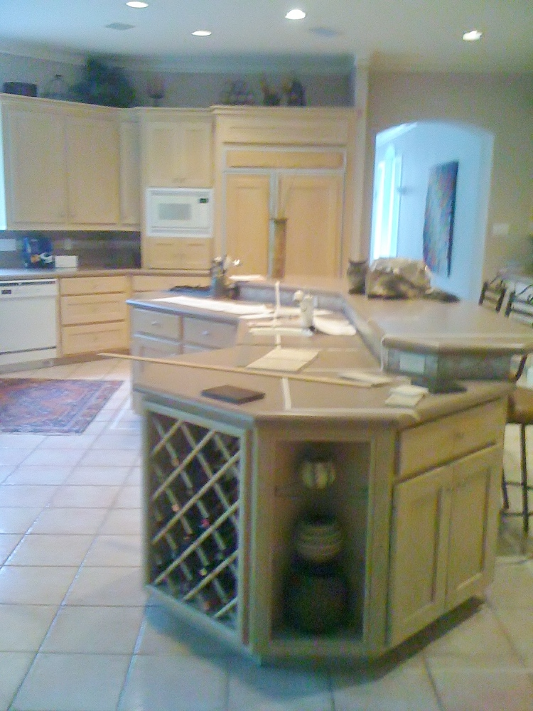 BEFORE Remodel - Whitewashed cabinetry had turned orange/yellow over the years, tile floor was dated, wonky island had to go. #kitchenremodel #hometour