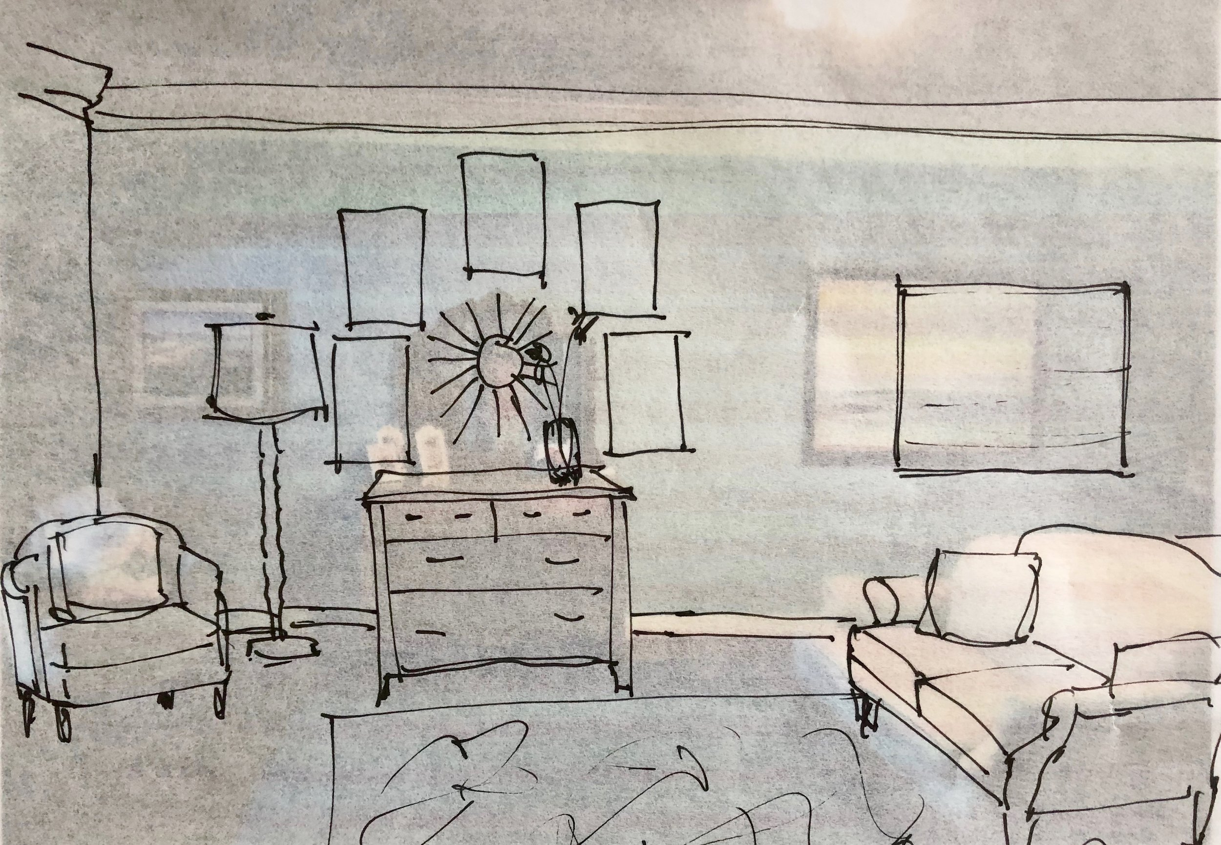 Here's my quick sketch for the dresser wall with the new wall decor layout and floor lamp. The large art piece shifted down the wall slightly away from this grouping and would be reframed in a slim, silver/gilded type simple frame to soften the look. Designed in a Click Q&A Consultation - Carla Aston