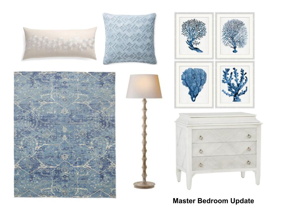 Storyboard of new furnishings for the master bedroom design