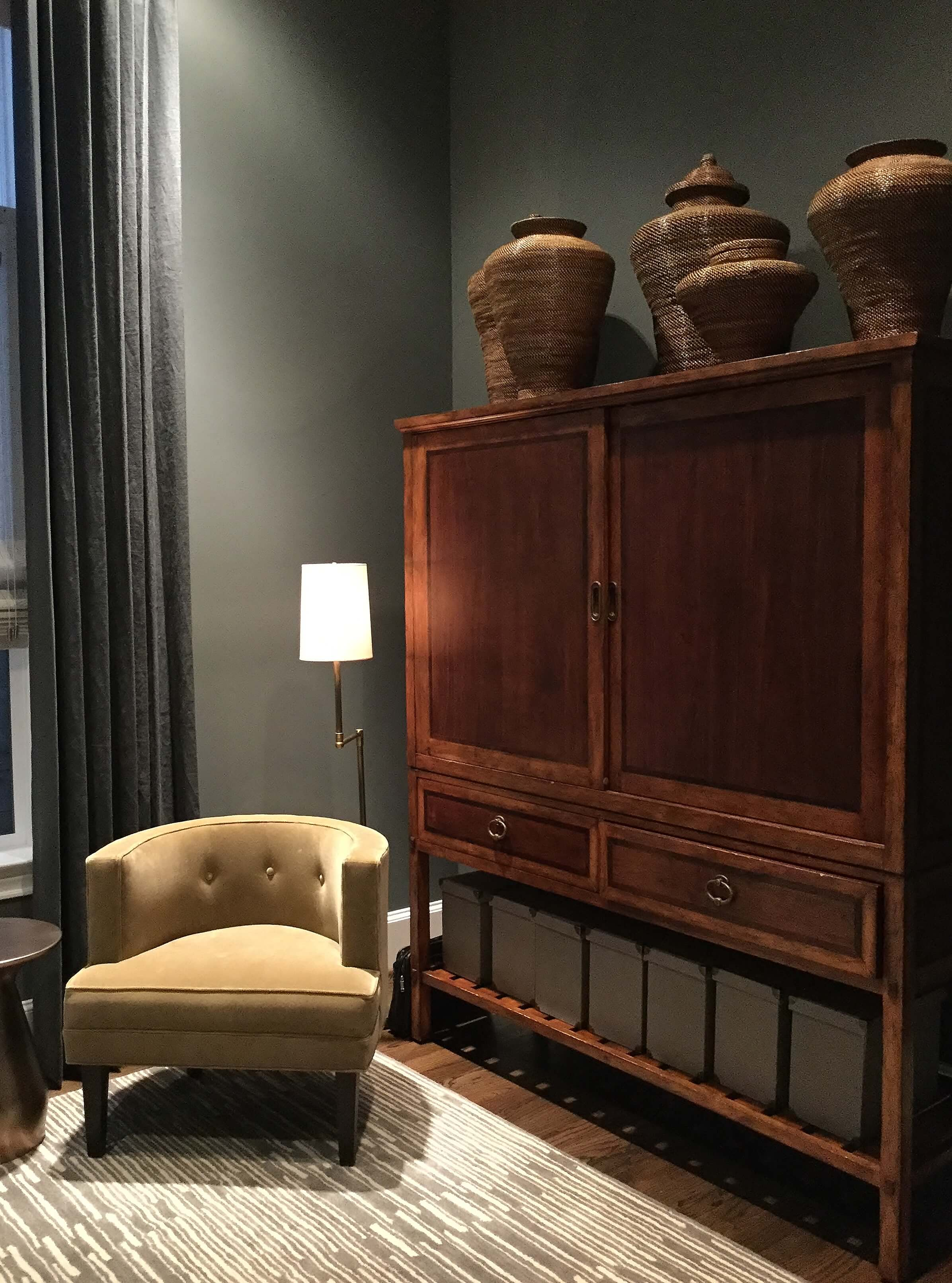 Look how short this piece would seem without these tall items above? Designer: Carla Aston