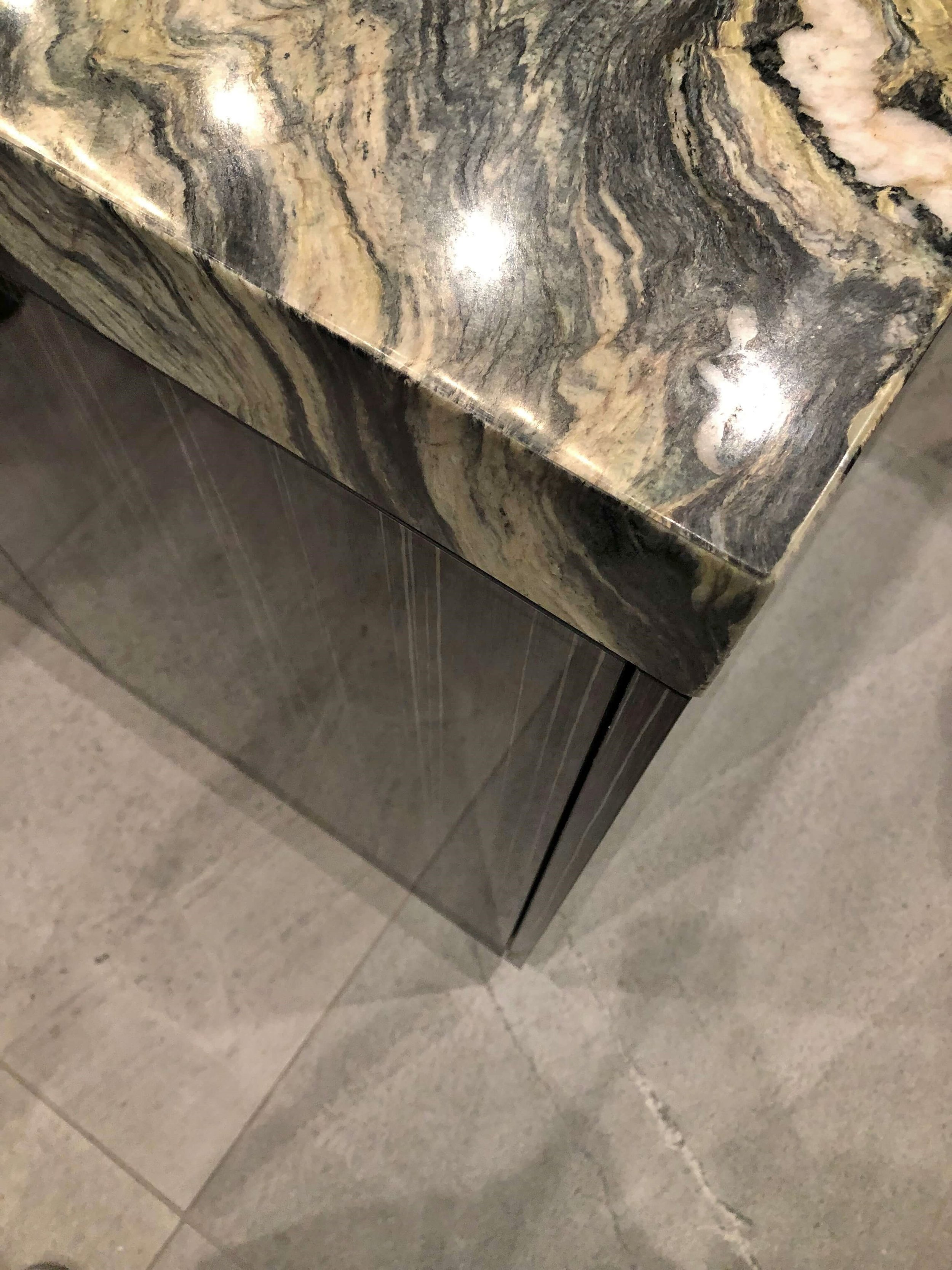Thick kitchen countertop look seen at the  KBIS 2019 New American Home.  #kitchencountertop #kitchendesign