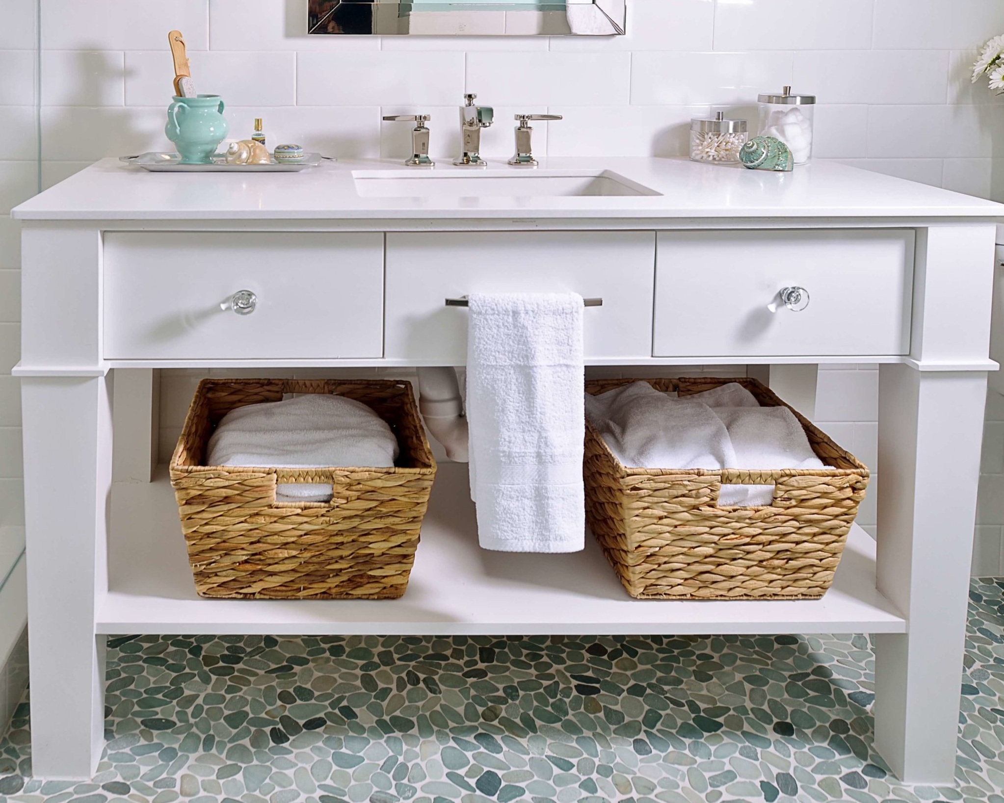 Custom bathroom vanity cabinet with legs and shelf | Carla Aston, Designer | Miro Dvorscak, Photographer