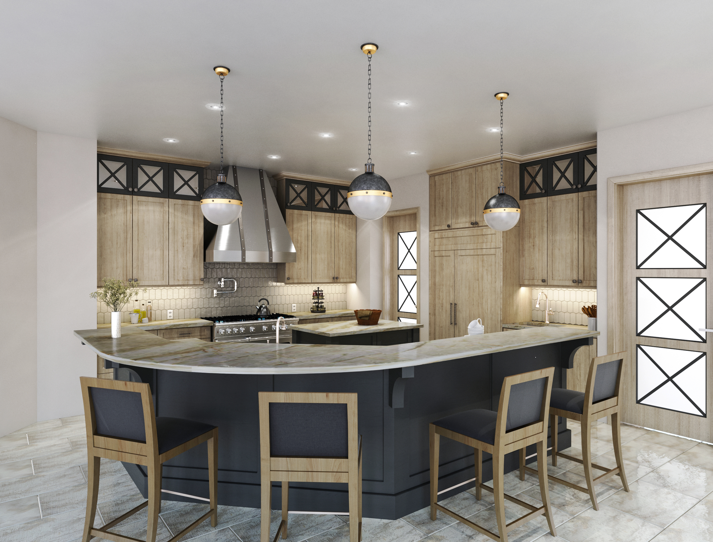 """This kitchen has a raised, 42"""" high bar, which helps to visually separate it somewhat from the large open spaces adjacent. It conceals the kitchen sink area from the main entry and formal dining room too. Carla Aston, Designer 