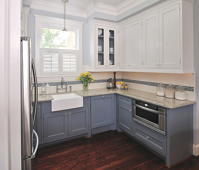 Kitchen with semi gloss trim design -ed by interior designer Carla Aston