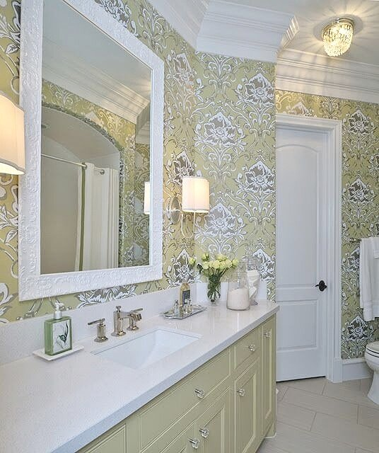 What's the best paint for your trim? | Bathroom with semi-gloss trim, designed by Carla Aston. #wallpaper #paintedcabinets