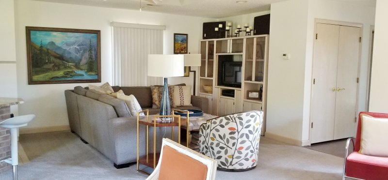Existing family room needing a new tv cabinet and window treatment. See what was advised for this family room design. #designconsultation #interiordesignadvice