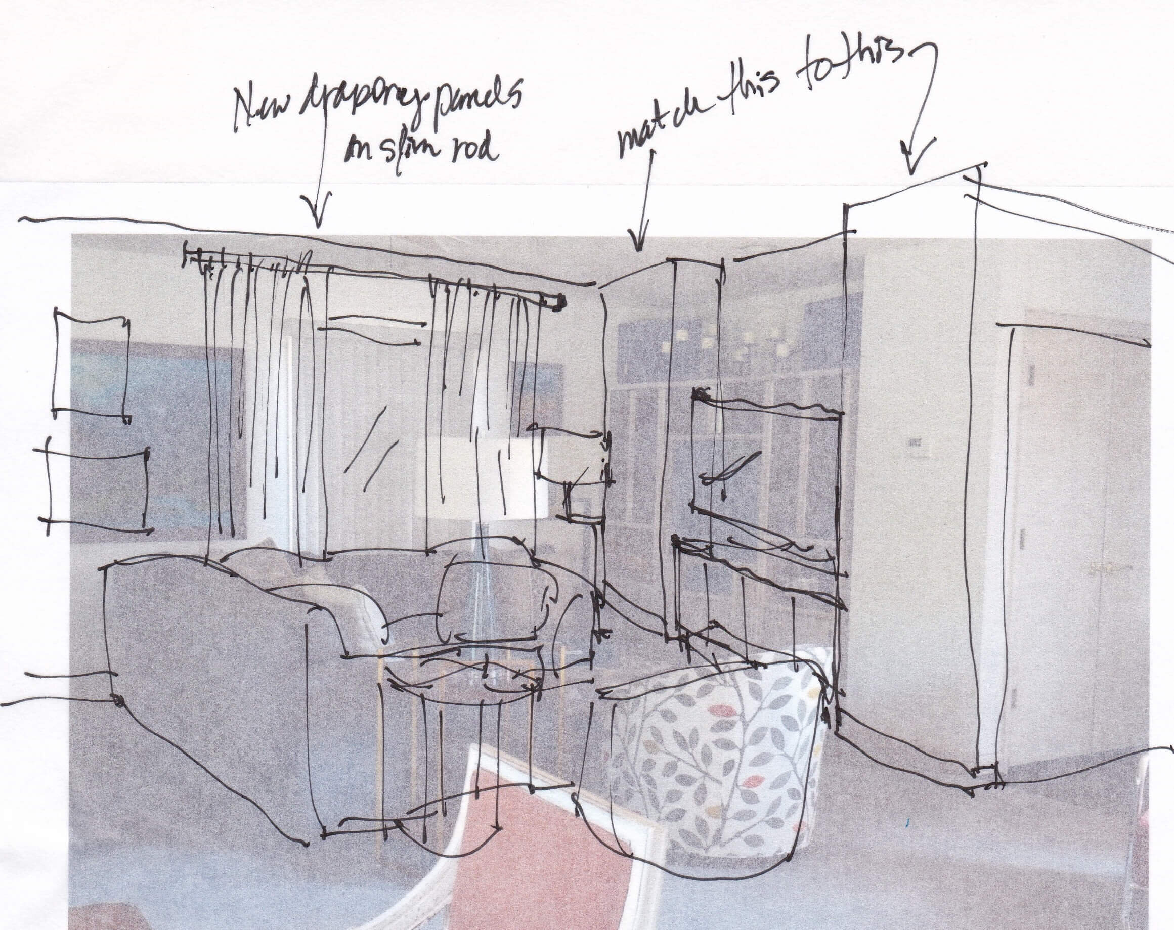 Design sketch showing recommendation for tv wall and window treatment. #designconsultation #interiorsketch #designsketch