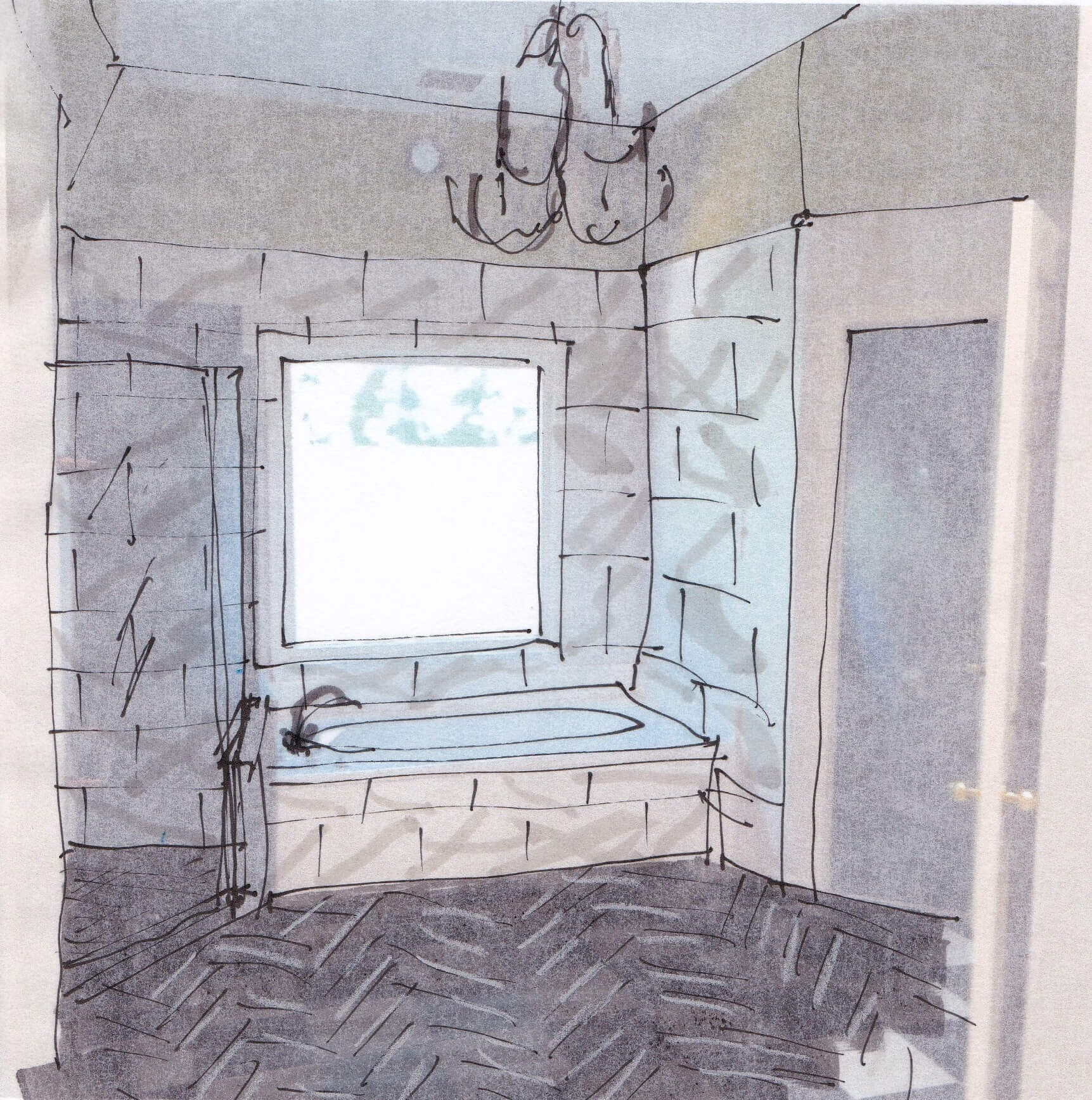 Here's what I thought would work best for the tile and installation of tile in this area of the bathroom. Covering the wall of shower and tub in the same tile and taking the floor tile into the shower stall would make for a more cohesive and intentional design. #designsketch #designconsultation #bathroomdesign #bathroomtile
