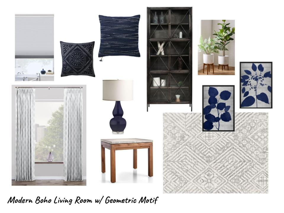 Modern Boho Living Room With Geometric Motif - navy and gray color scheme | Carla Aston, Designer #livingroomideas