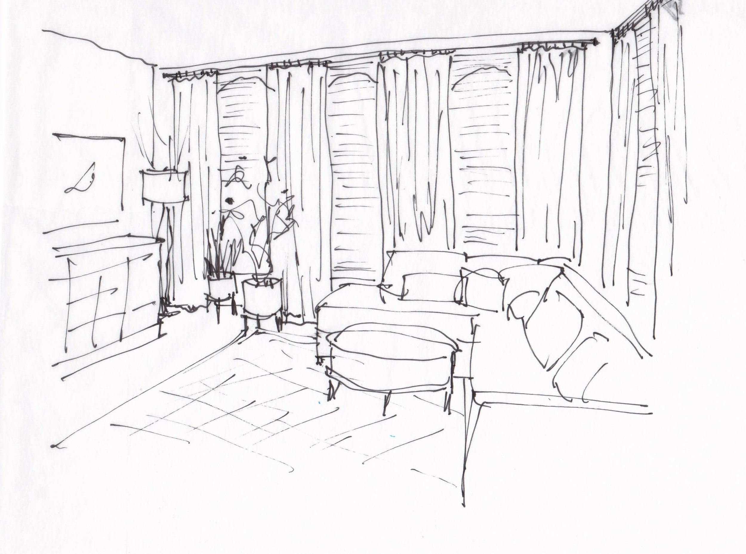 Design Sketch of living room for an email design consultation | Window treatments and furnishings suggested help complete this room. Carla Aston, Designer #designsketch #livingroomideas #walldecor