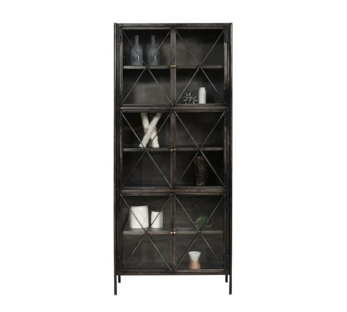 New bookcase from Pottery Barn with glass, X design doors in dark finish. Living Room Design Consultation #bookcase #livingroomideas