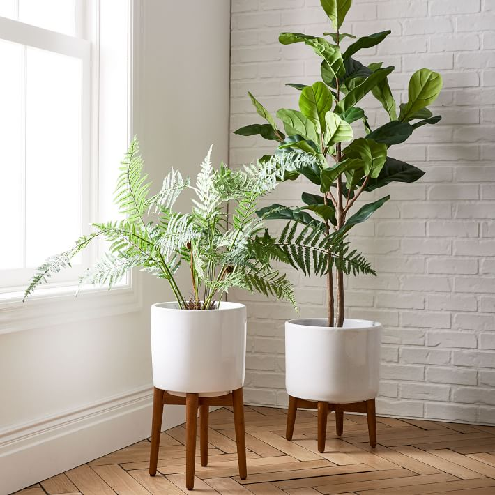 Mid century wood and white planters for living room window | Living Room Design Consultation | Carla Aston, Designer #planters #interiorplants #livingroomideas
