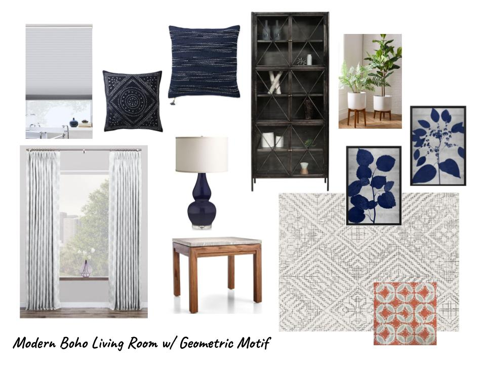 Modern Boho Living Room w/ Geometric Motif In Navy And Gray | Moodboard for Design Consultation - Carla Aston, Designer