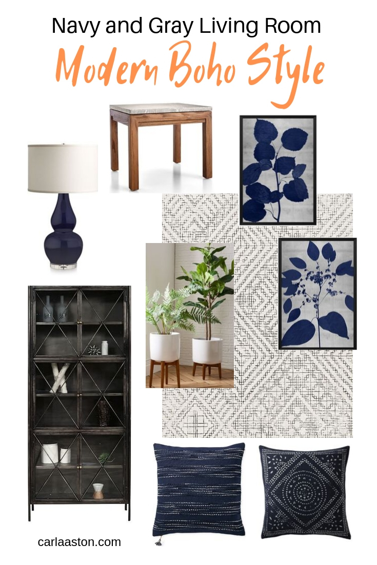 Navy and gray living room in Boho Modern Style with links to shop. See more about this design consultation and living room space by clicking through. #livingroomideas