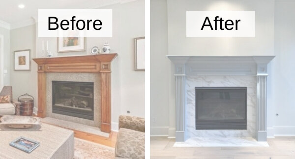 Fireplace Remodel, Can You Tile Over Granite Fireplace Surround