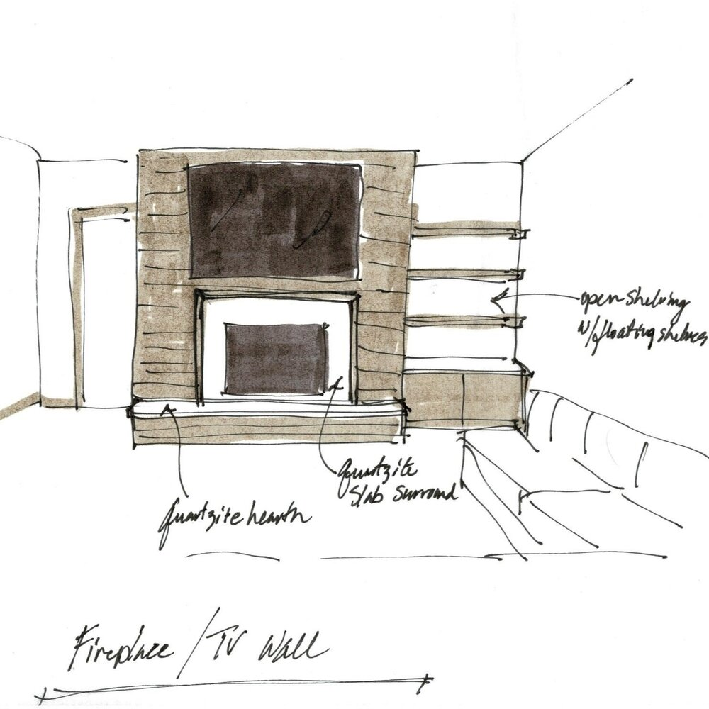 Sketch for Fireplace Wall Design Recommendation