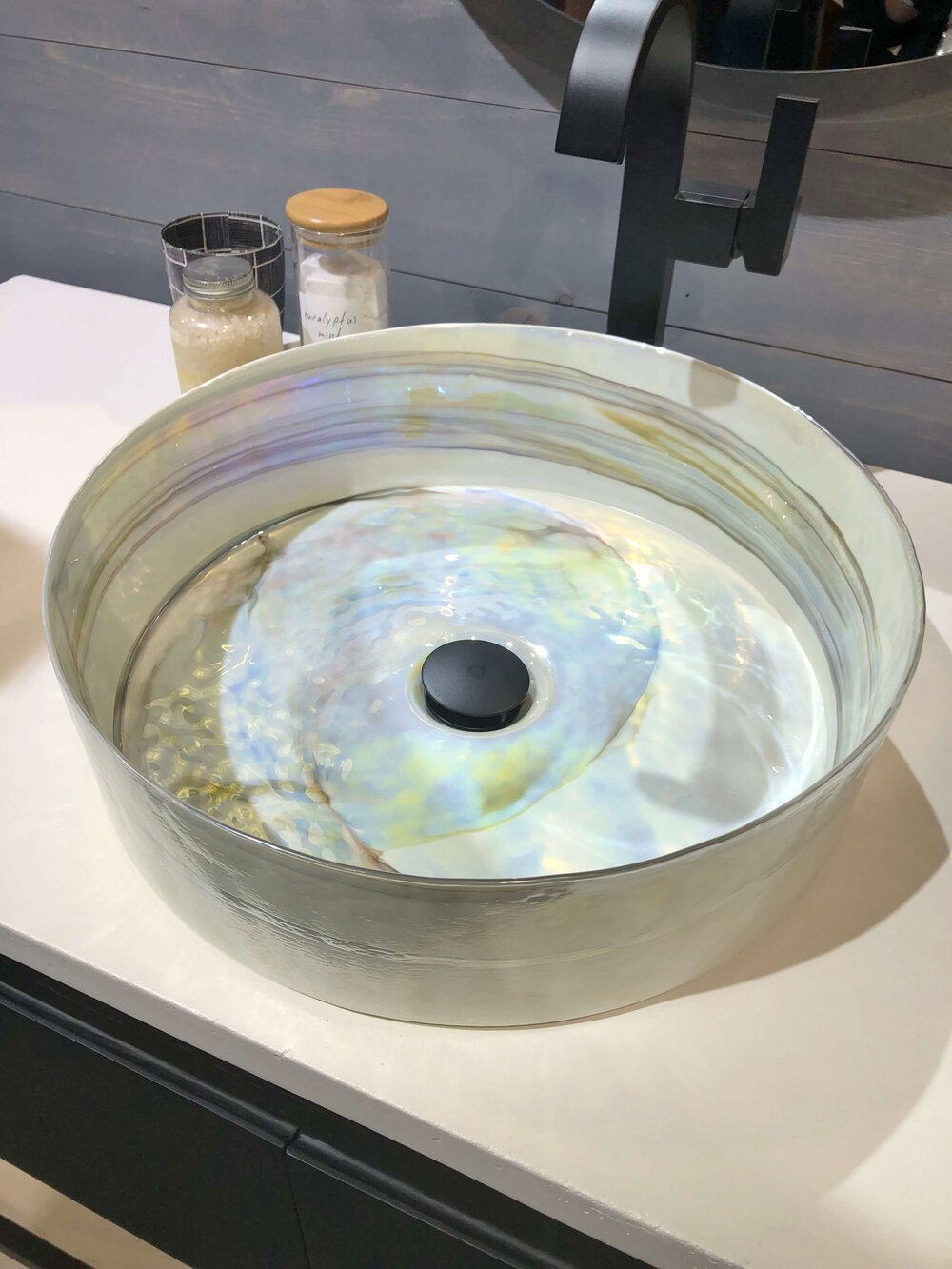 Murano glass vessel sink with an opaline look finish by Native Trails