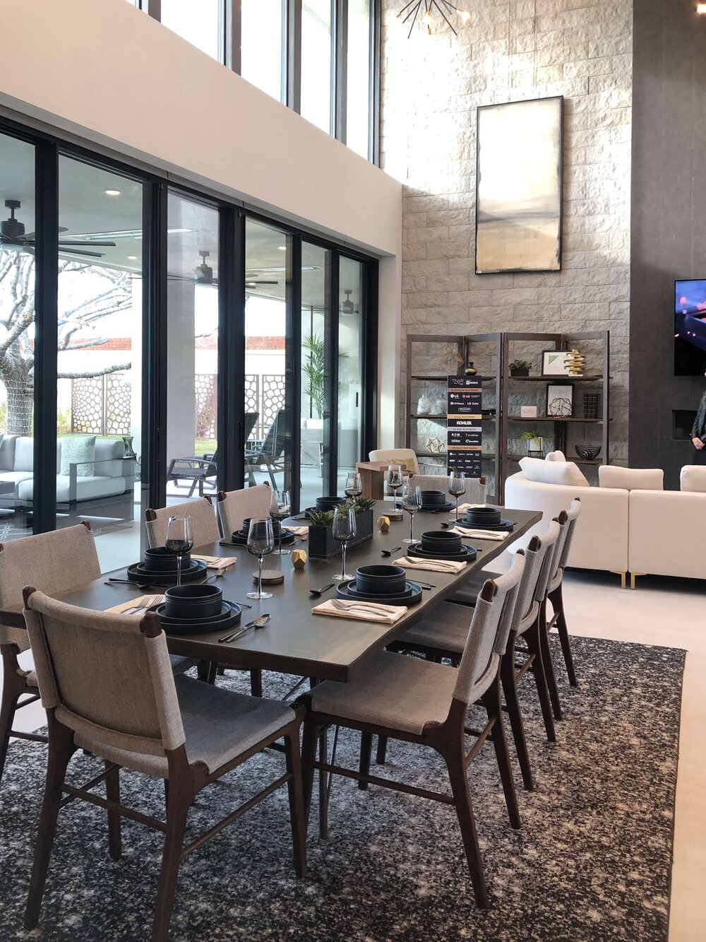 Open dining room and living room of The New American Remodel. TNAR | #remodeling #remodel #diningroom