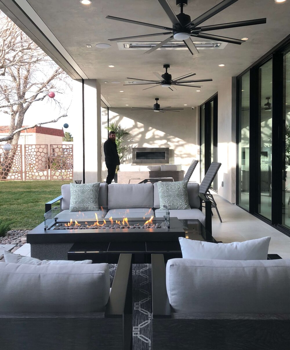 Contemporary outdoor living oasis at The New American Remodel TNAR | #remodeling #remodel #outdoorliving #patio #pool #outdoorfirepit