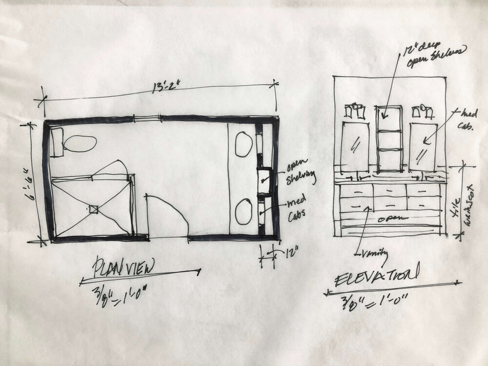 Design sketch showing bathroom vanity, tile wainscot, and storage above the vanity. From my Designed in a Click email interior design QandA service. | carlaaston.com