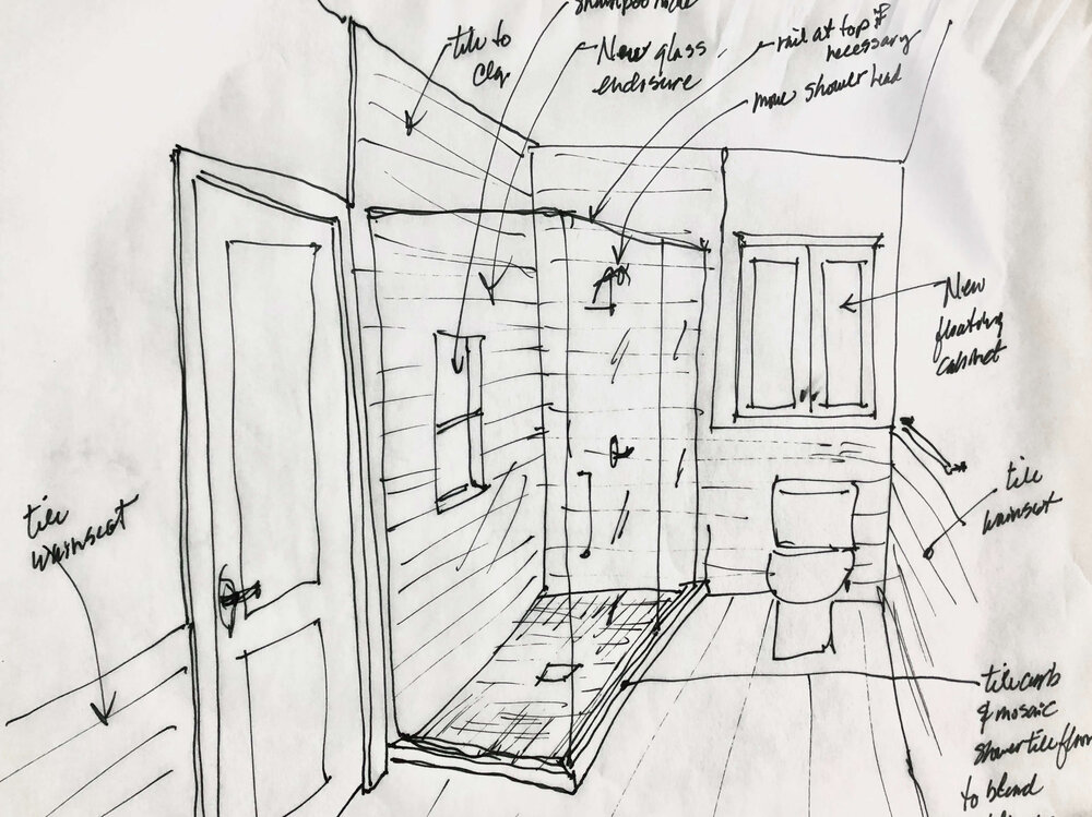 Design sketch showing open shower look, tile wainscot, and floating cabinet above the toilet. From my Designed in a Click email interior design QandA service. | carlaaston.com