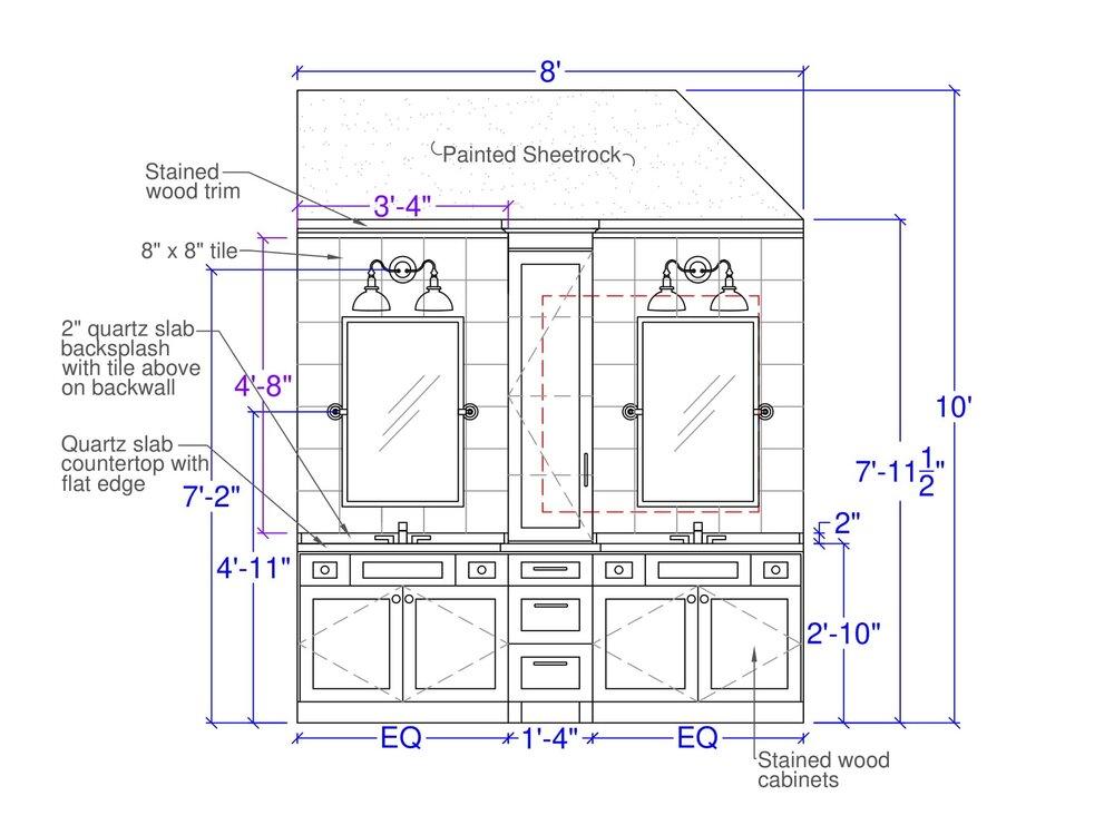Master bath elevation drawing | Carla Aston, Designer