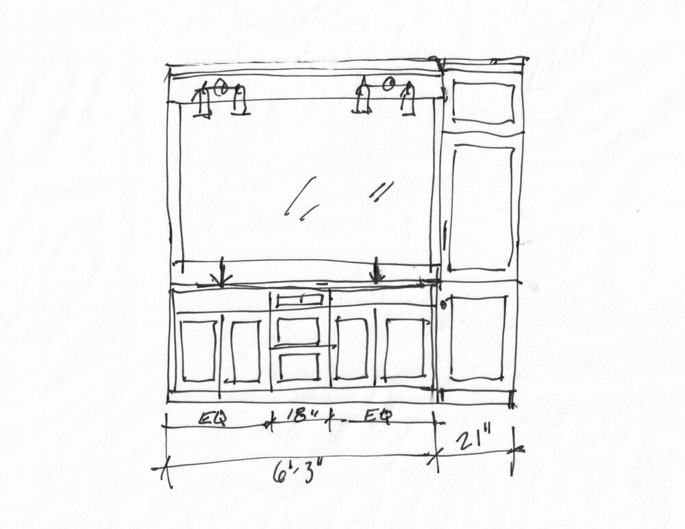 Proposed bathroom remodel vanity sketch