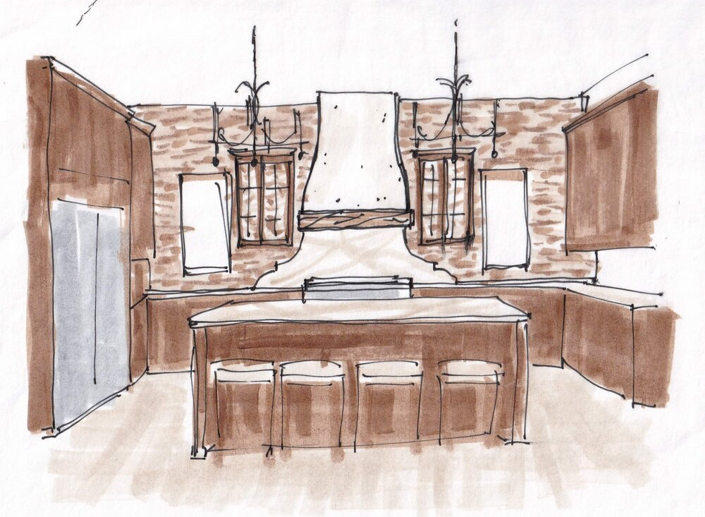 Lighten and brighten this Tuscan style kitchen with a new plaster hood and white marble counters and backsplash.