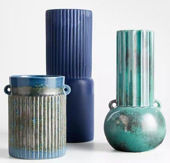 Ceramic vases on console