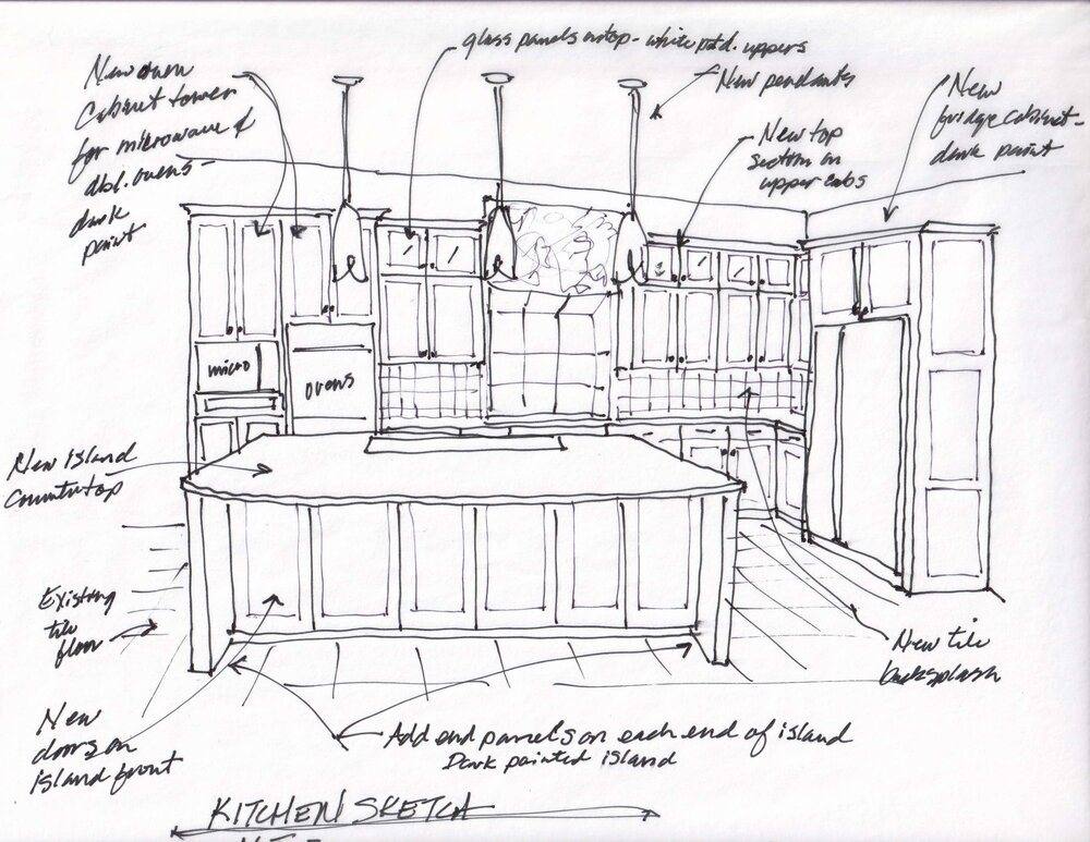 Design plan sketch showing new cabinetry additions. carlaaston.com