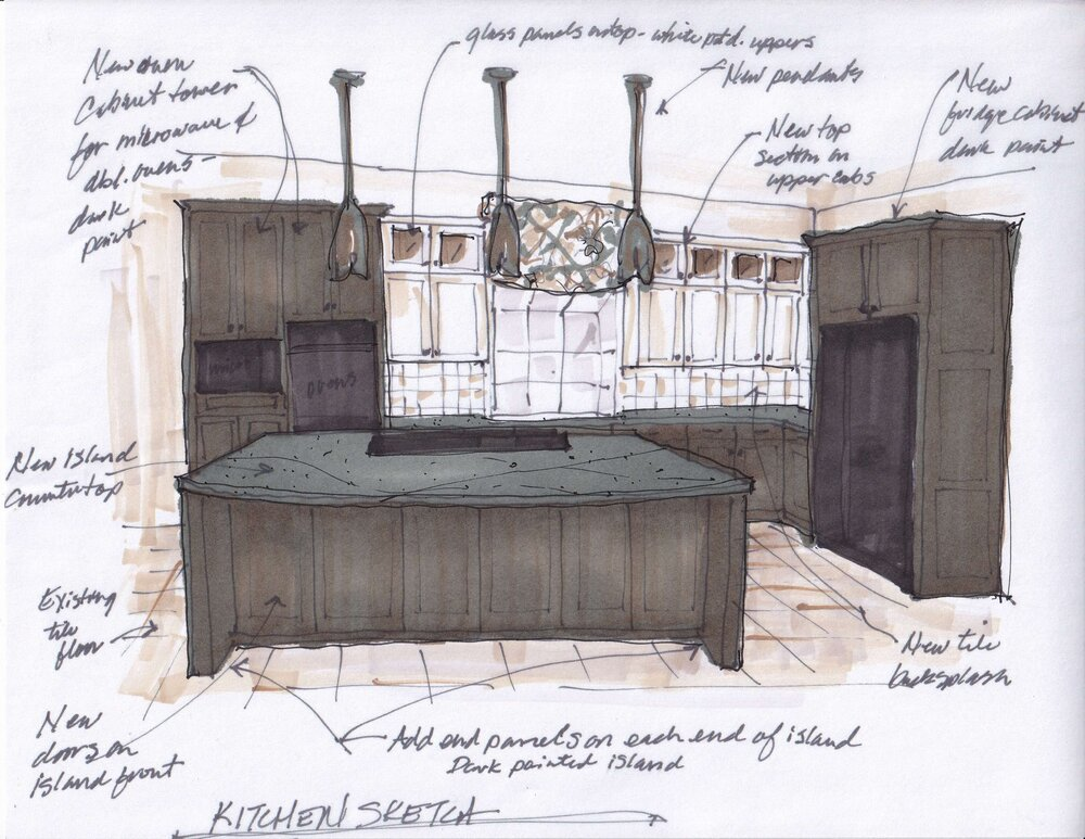 New design plan sketch with color to show placement of lights and darks in the room. carlaaston.com